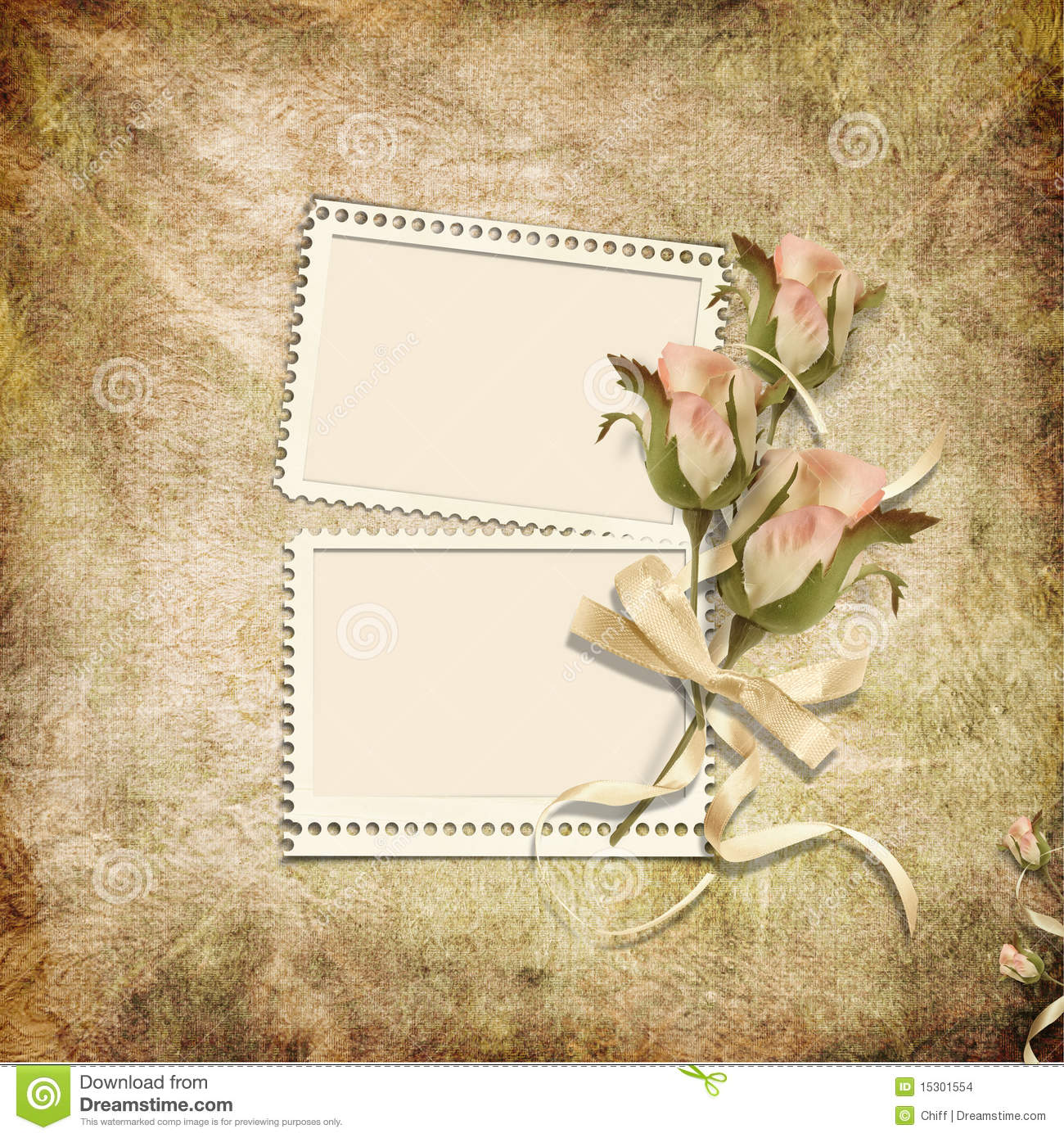 Vintage Background With Stamp-frames And Roses Stock ...