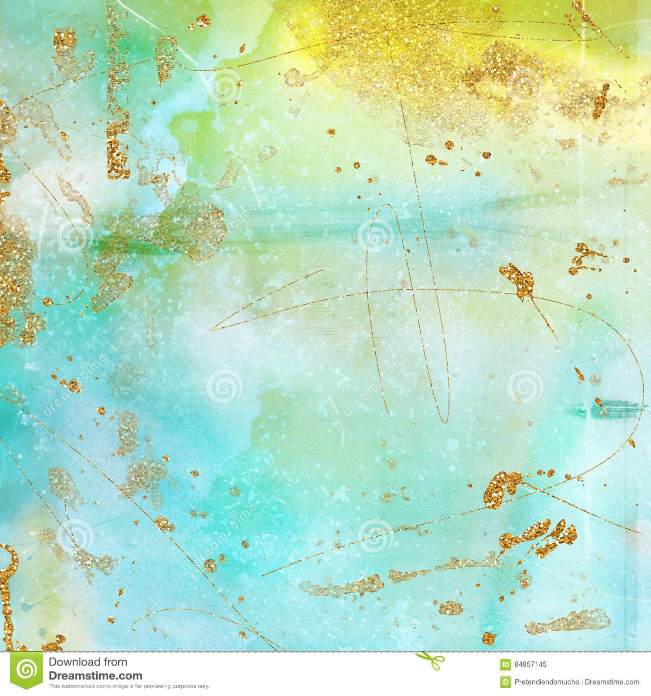The Texture Of Teal And Turquoise: Vintage Background Texture In Mint, Turquoise, Yellow And
