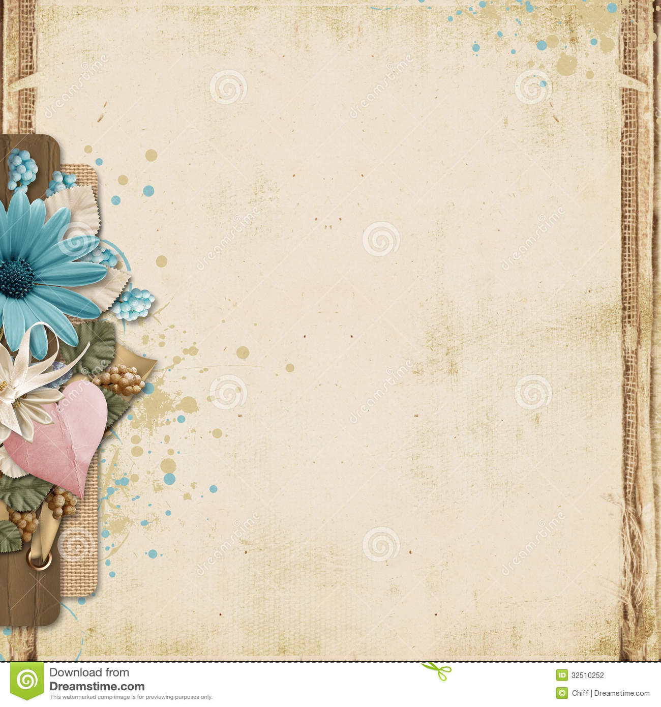 Vintage beautiful background with flowers and with space for notes and ...
