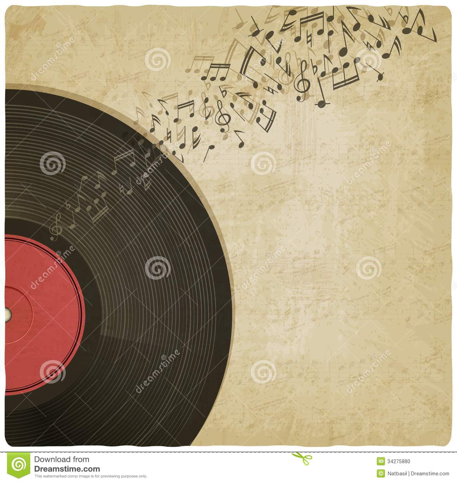 Vintage Background With Vinyl Record Stock Photo Image 34275880