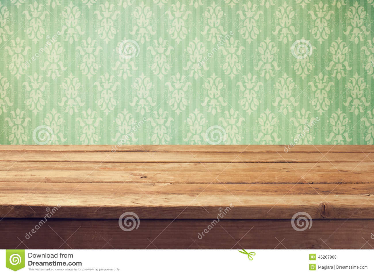 Download Vintage Background With Wooden Deck Table And Classical Wallpaper Stock Photo