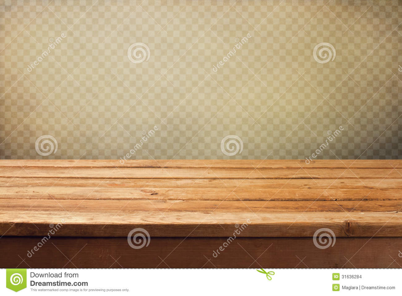 vintage background with wooden deck table over grunge