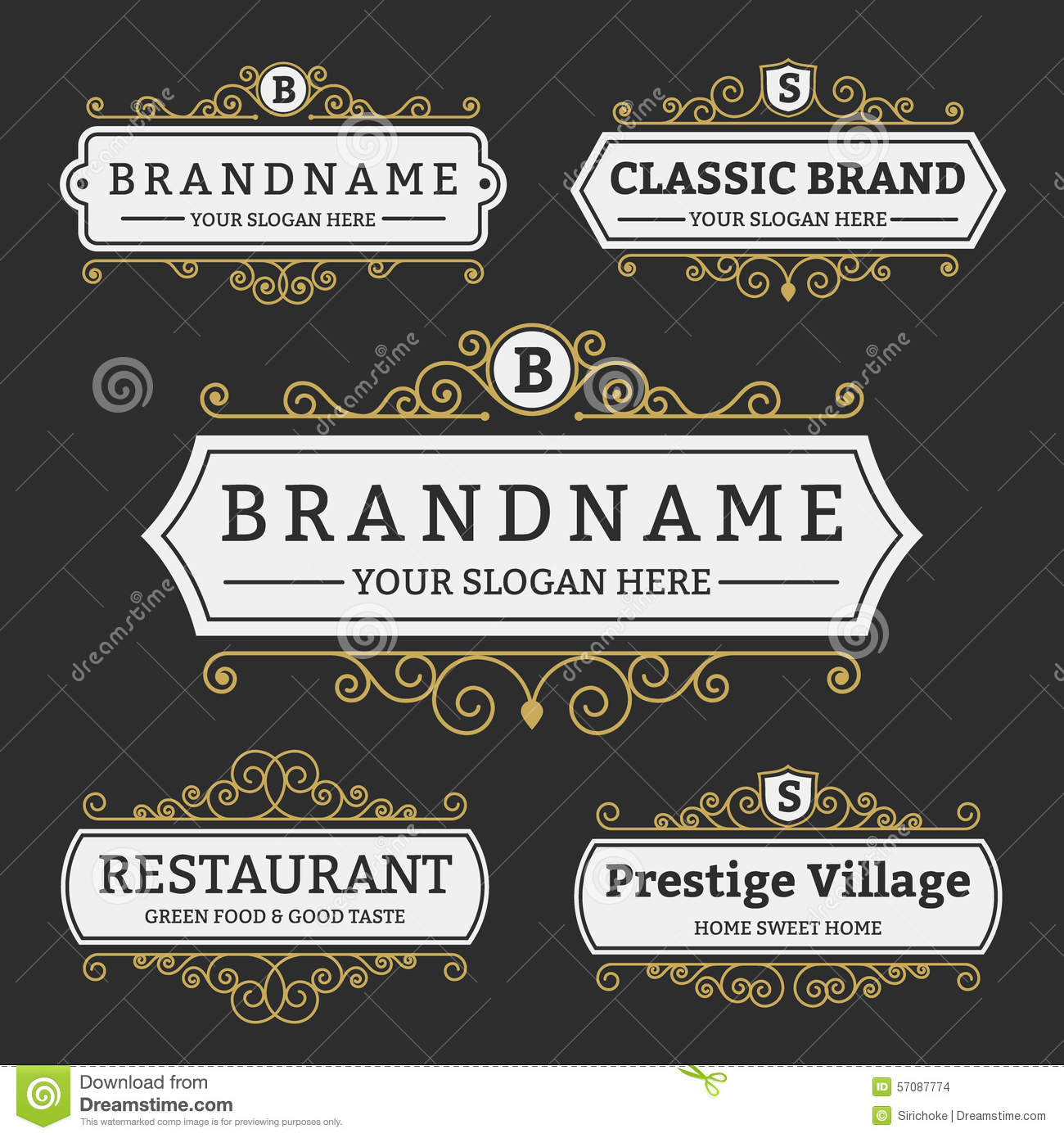 Vintage Badge And Labels Brand Name Collection Stock ...