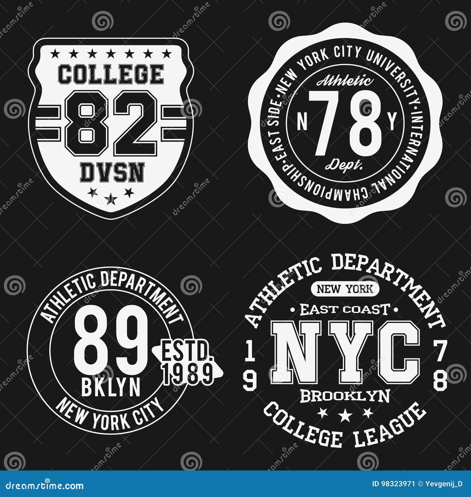 c0914617 Vintage badges set, athletic sport typography for t shirt print. Varsity  style. T