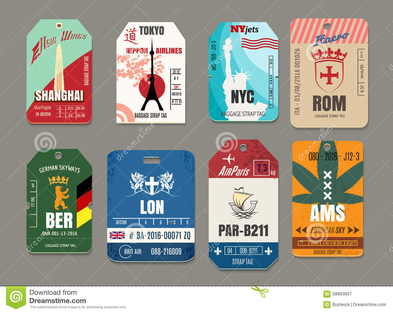 Vintage baggage or luggage vector paper tags set stock for Airline luggage tag template
