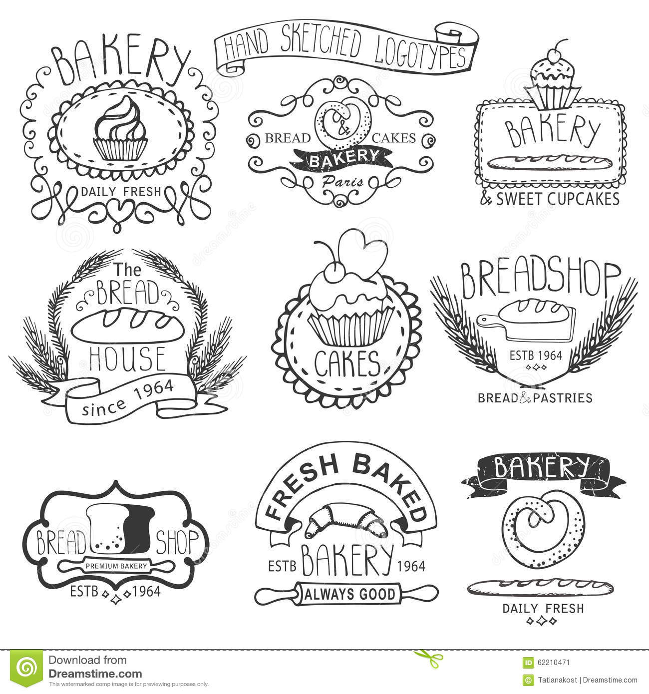 Vintage Wheat Logo Collection:  Vintage Bakery Labels.Outline Hand Sketched Stock Photo