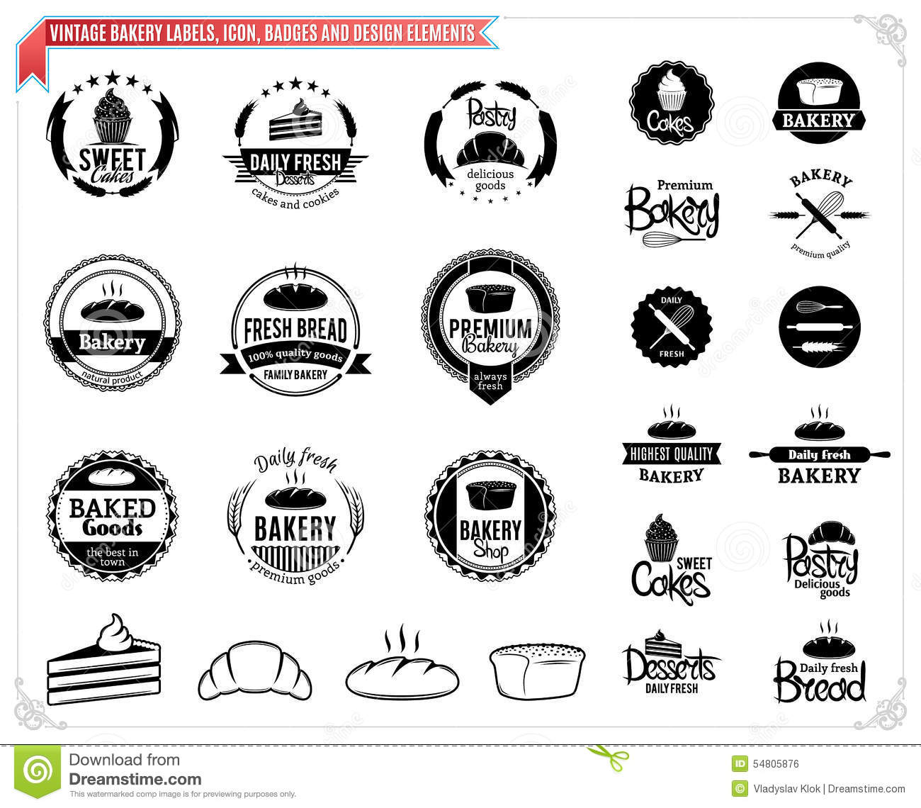 Vintage bakery labels templates icons badges and design for Work badges template