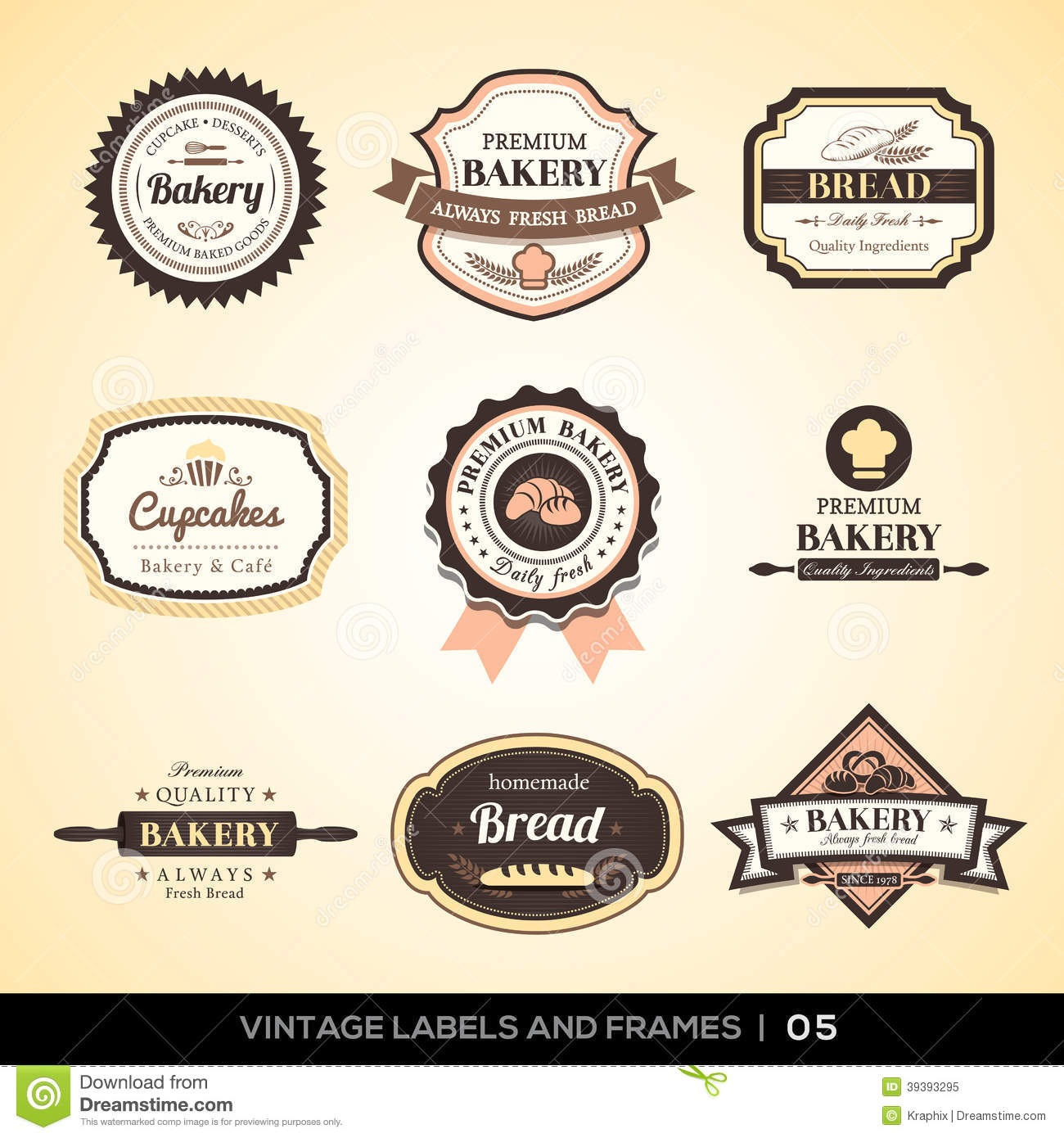 Vintage bakery logo labels and frames stock vector image for Classic house labels