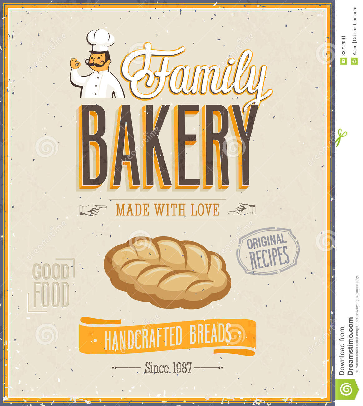 Vintage Bakery Poster. Stock Image - Image: 33212041