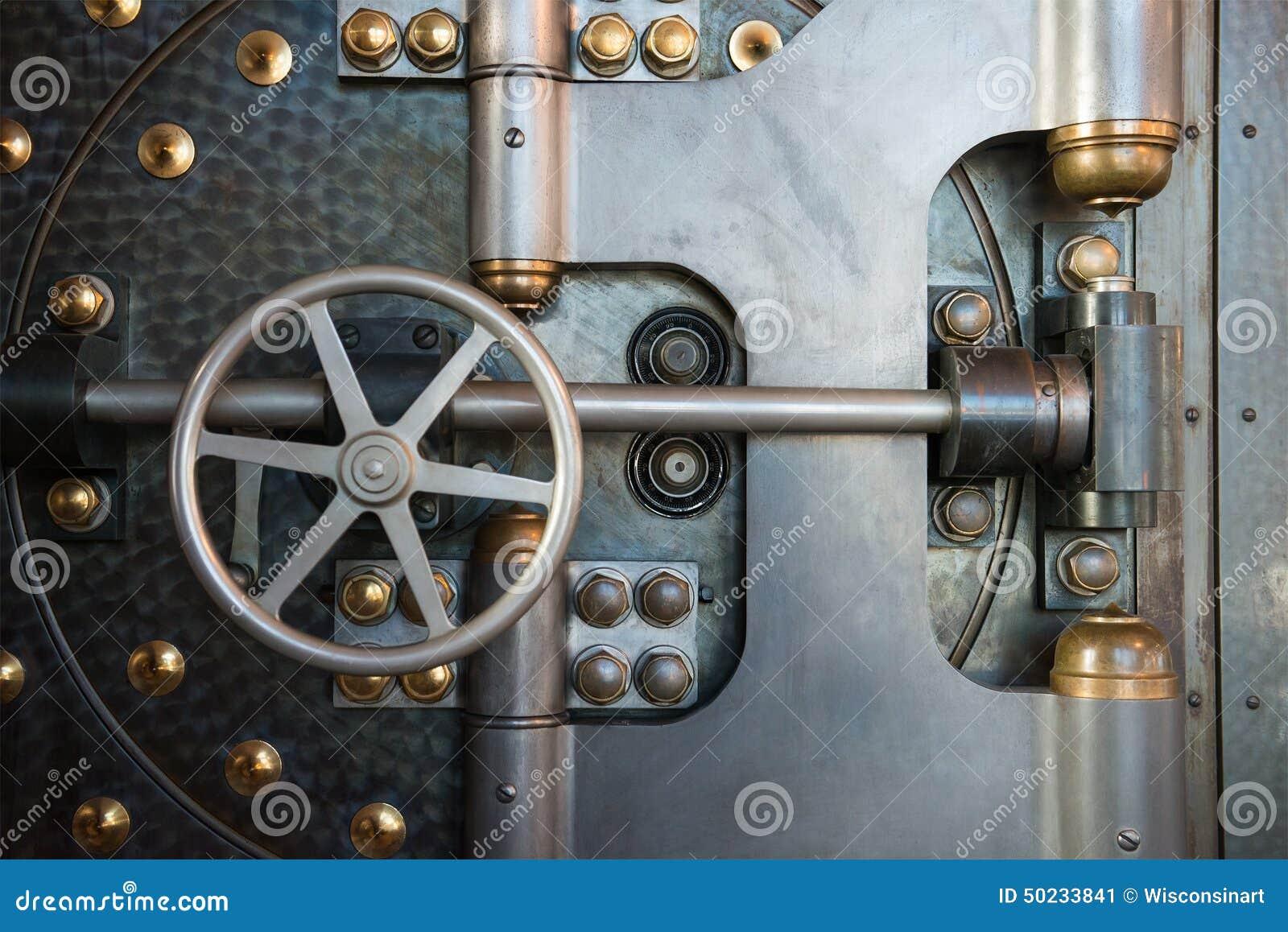Vintage Bank Vault Safe Industrial Background Stock Photo