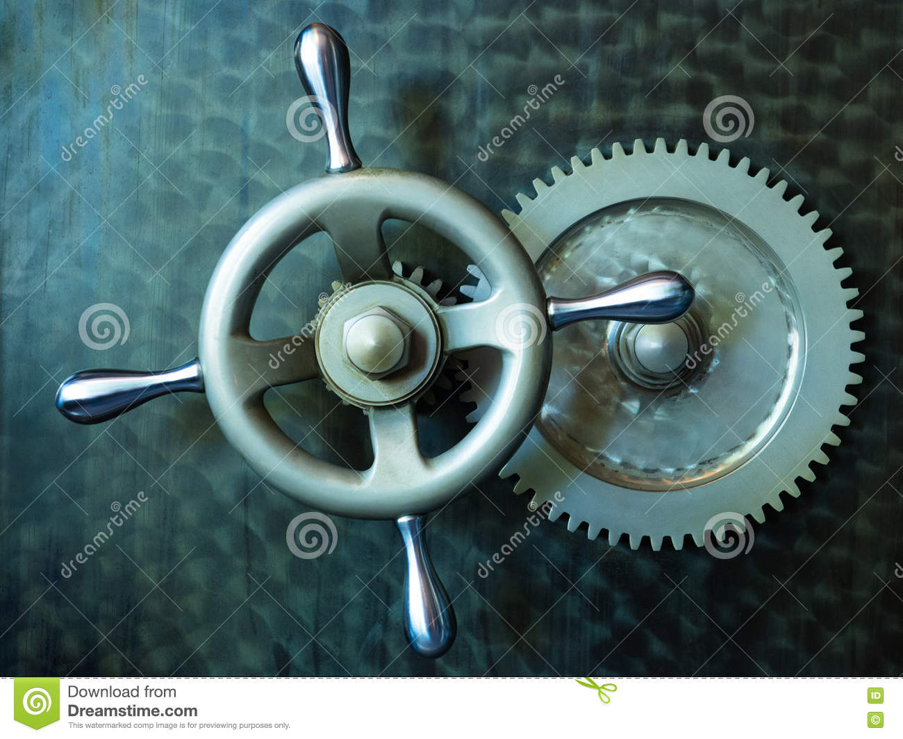 Vintage Bank Vault Safe Industrial Background Stock Photo