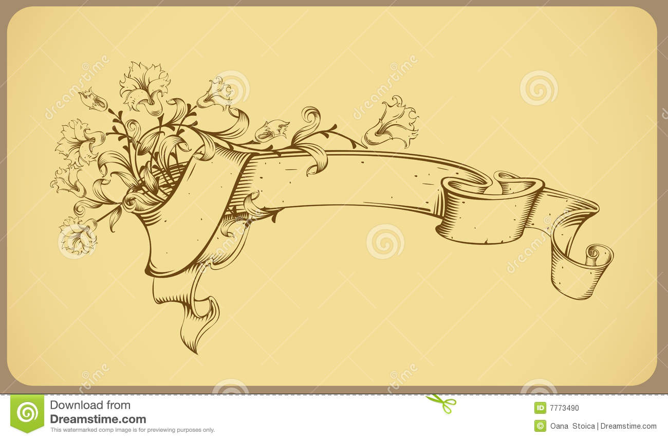 Flower Line Drawing Vintage : Vintage banner with flower line drawing stock photo
