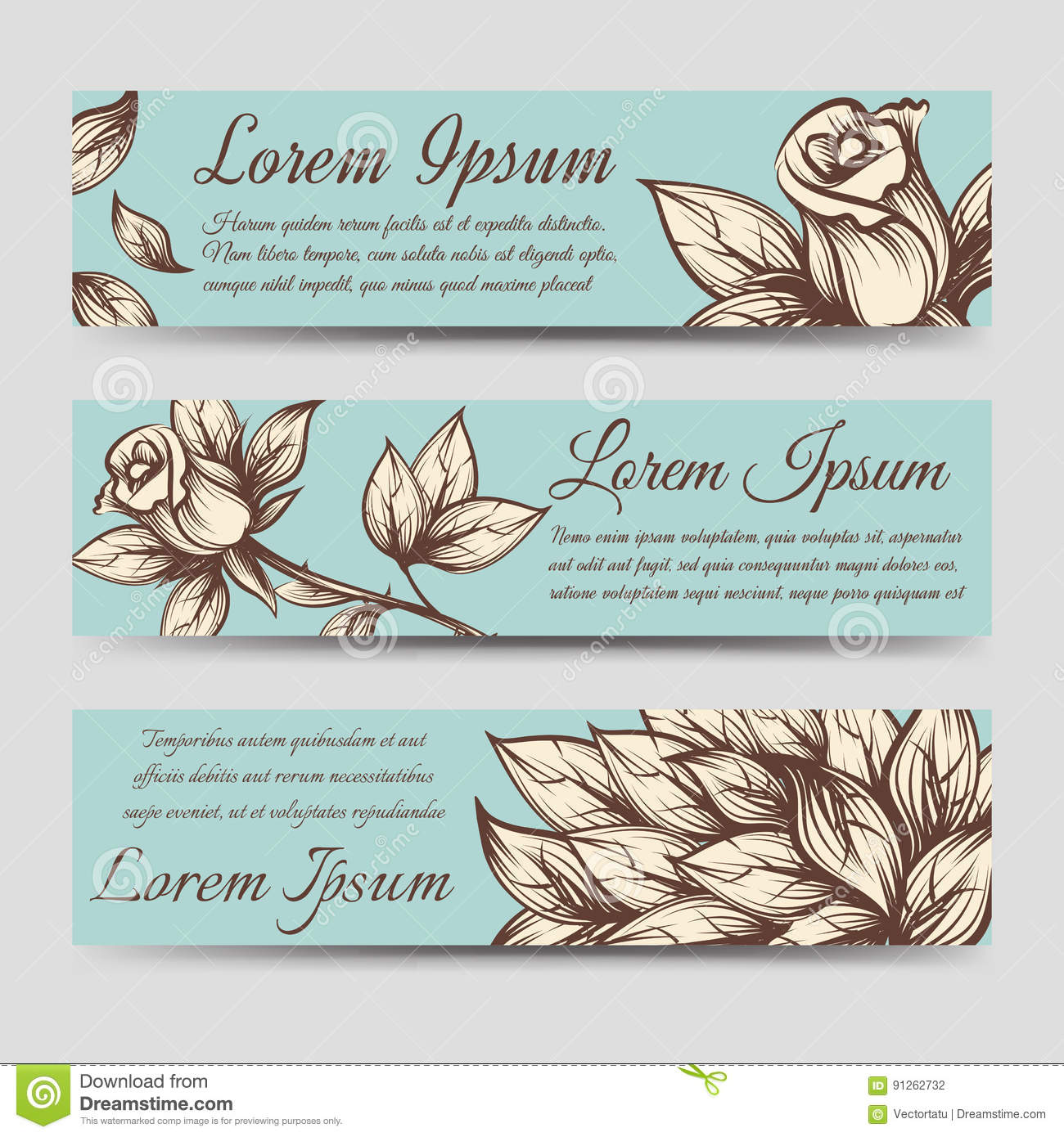 Vintage banners with roses and leaves