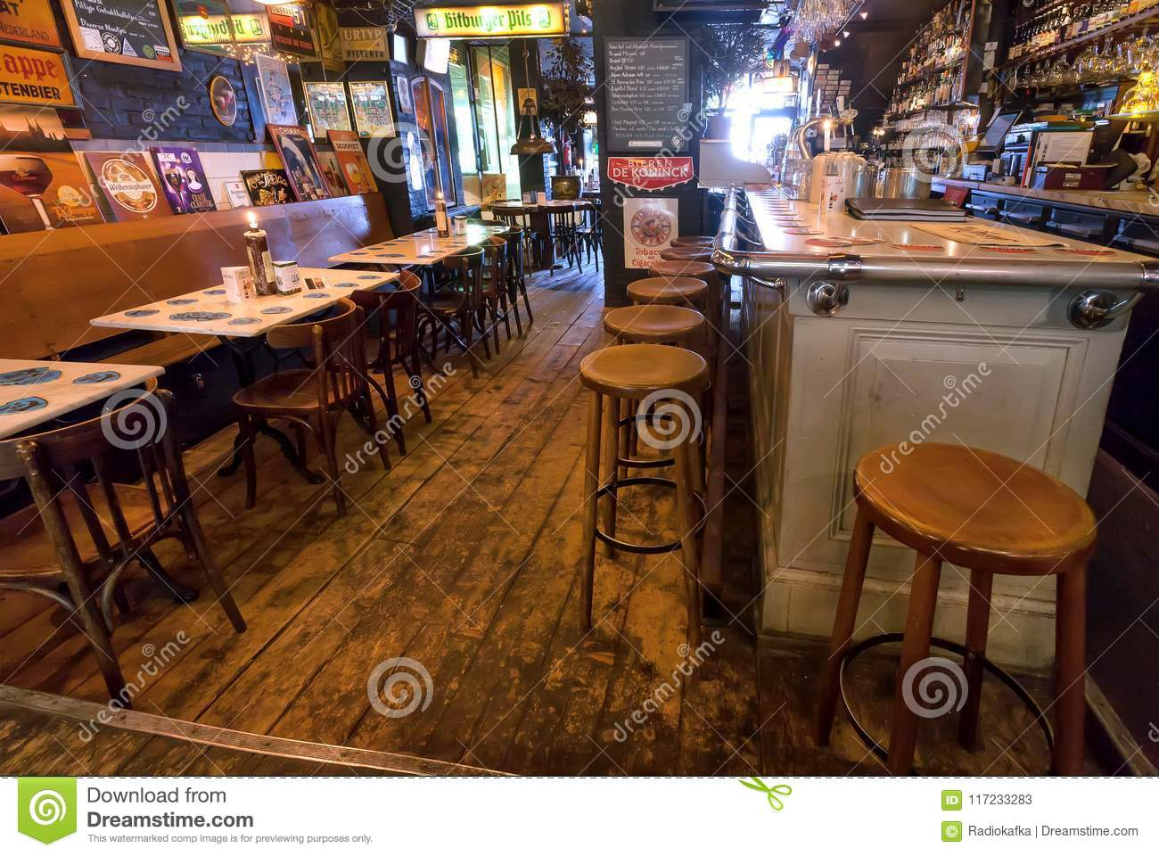 Vintage Bar Stools And Retro Style Furniture Of Old Beer Cafe ...