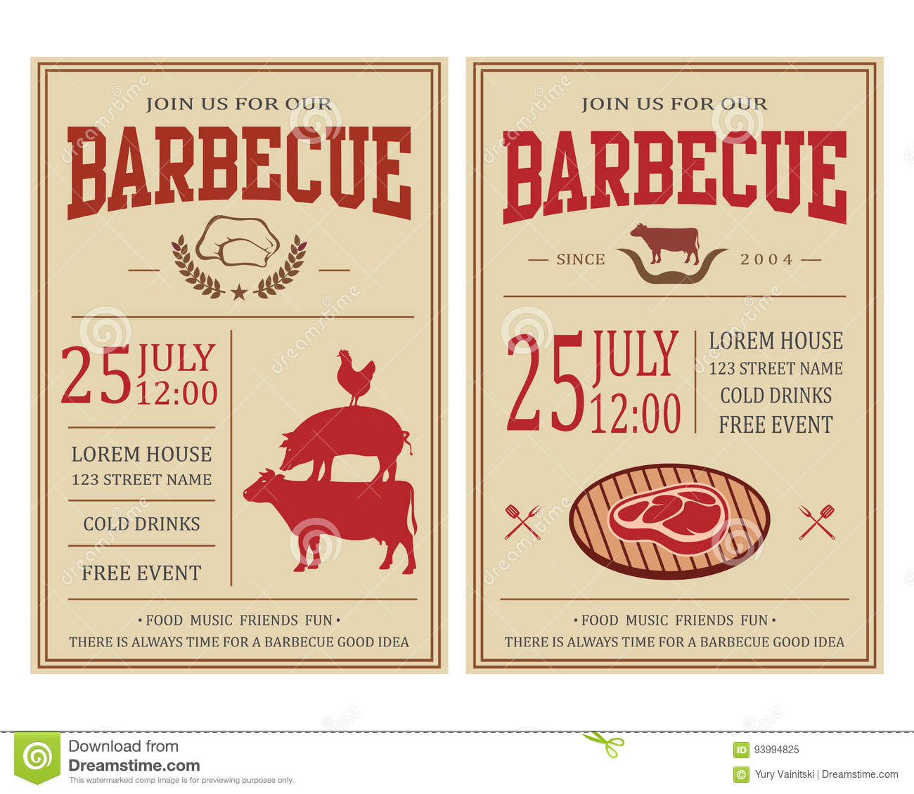 Vintage Barbecue Party Invitation Bbq Food Flyer Template Stock