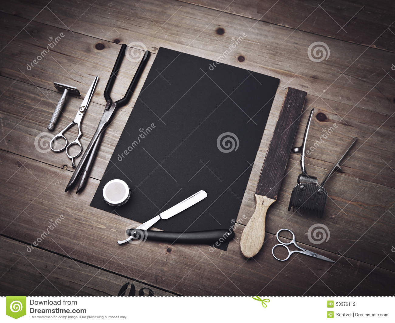 Vintage Barber Equipment And Black Page Stock Photo