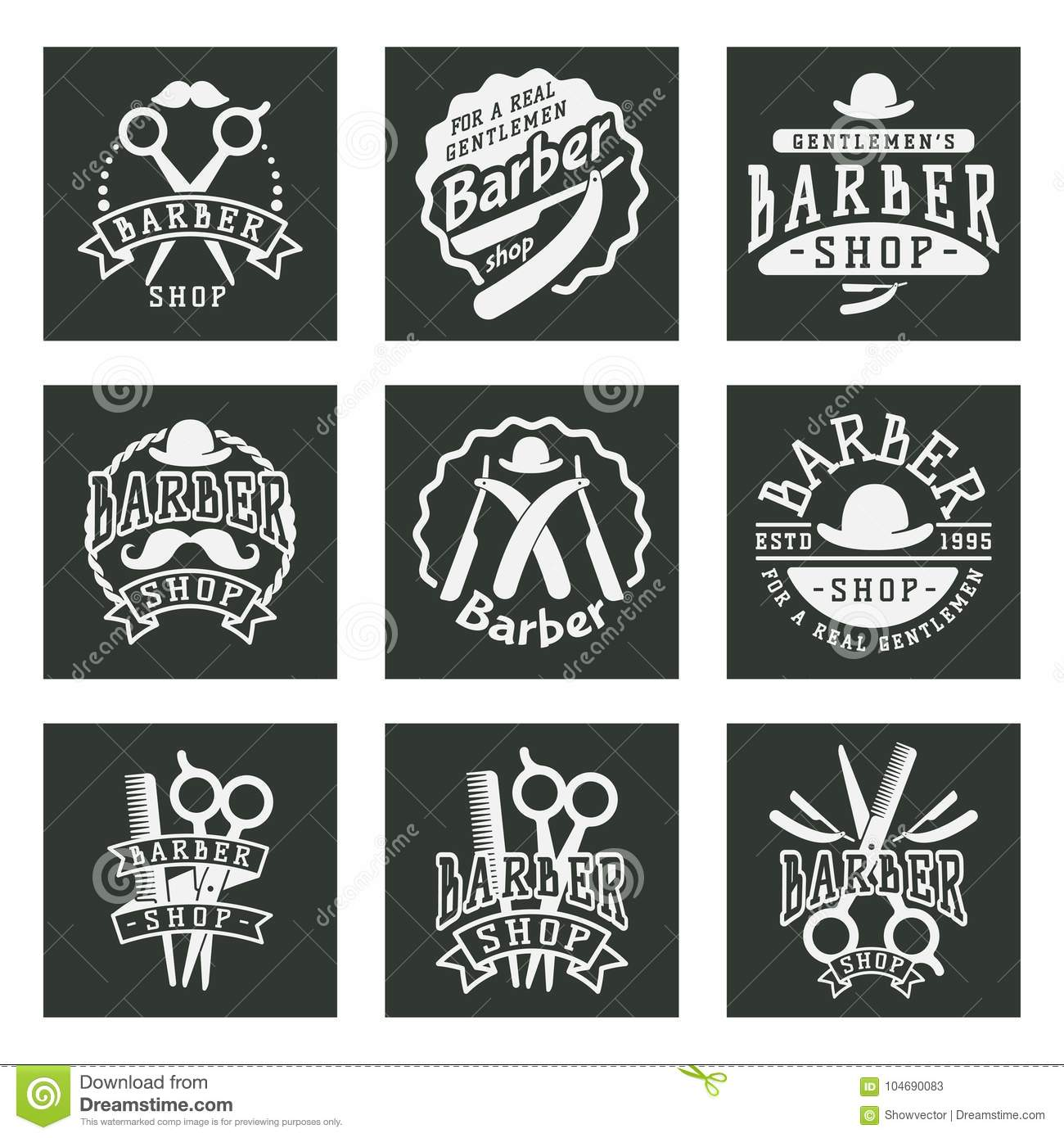 Download Vintage Barber Logo Retro Style Typography Flourishes And Calligraphic Barbershop Objects Vector Illustration Stock