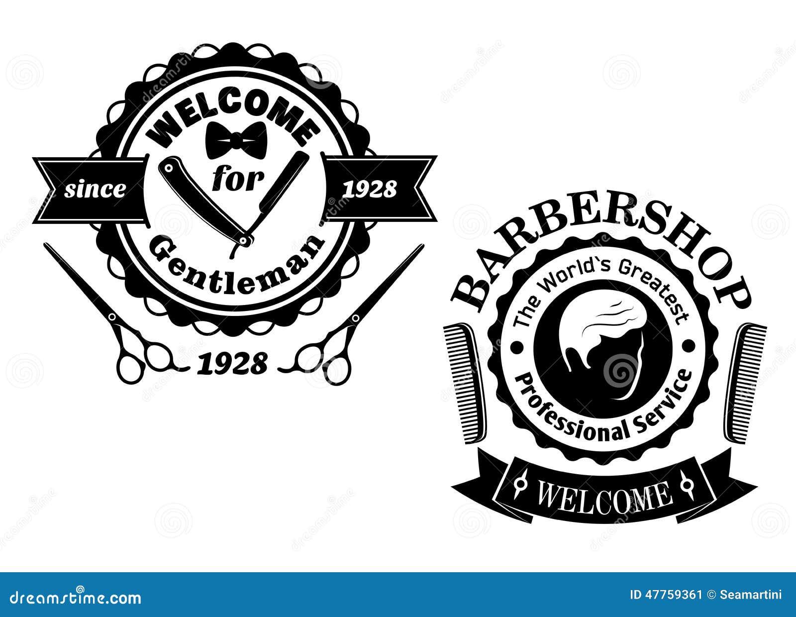 Clip art vector of vintage barber shop logo graphics and icon vector - Royalty Free Vector Barber Razor Scissors Shop Vintage