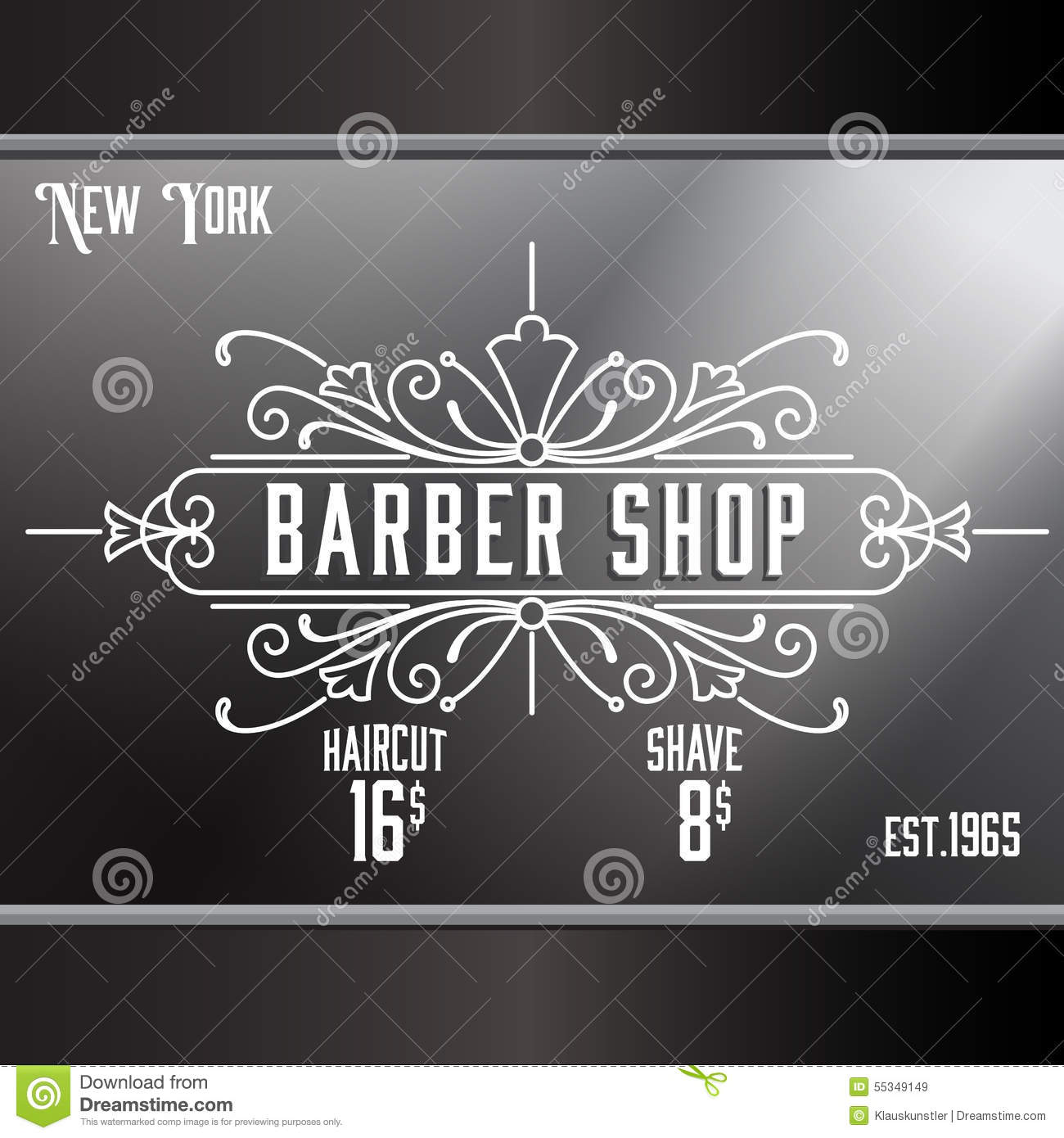 Vintage barber shop window advertising template stock for Window design template
