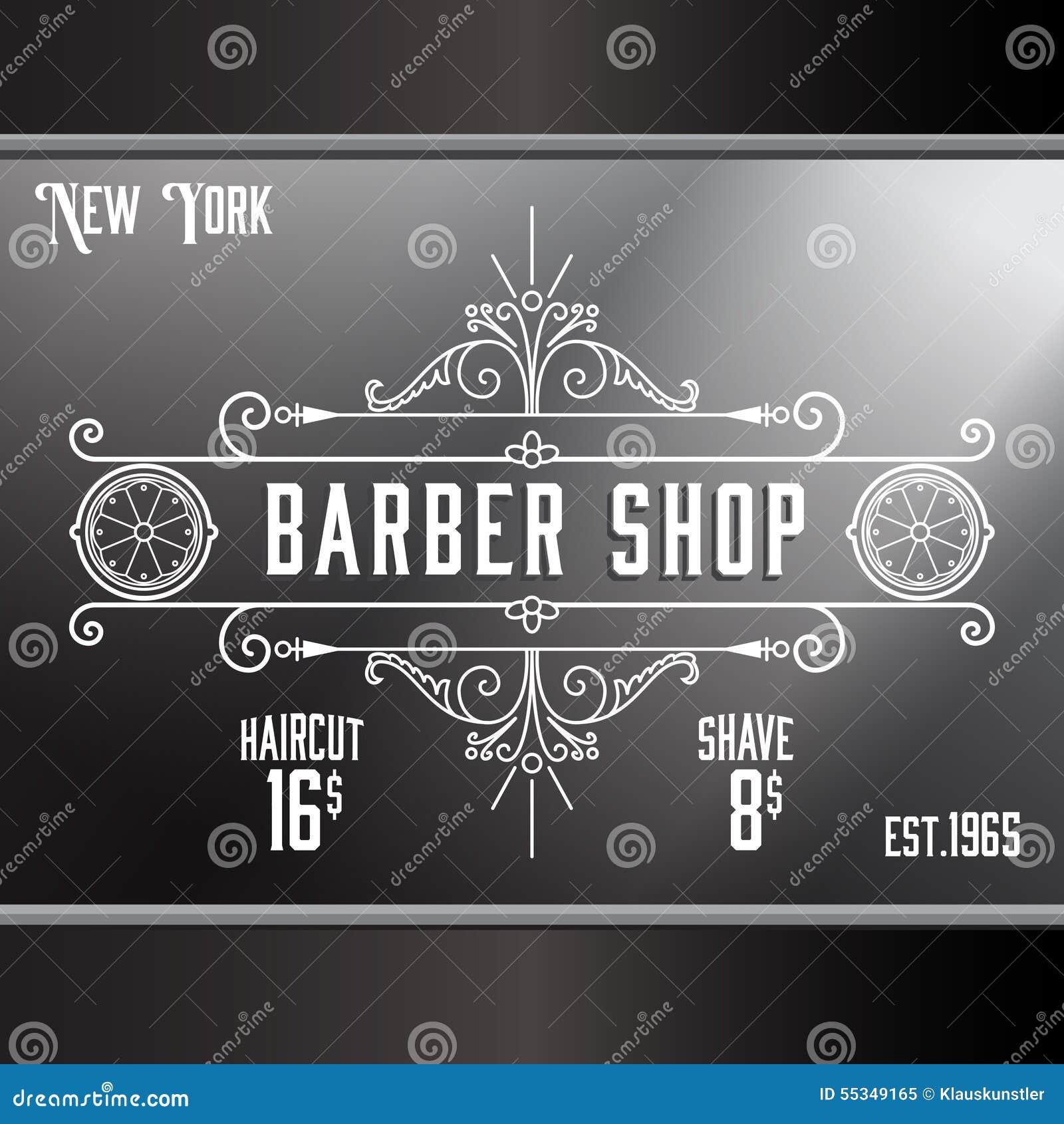 Old barber shop window - Vintage Barber Shop Window Advertising Template Stock Vector