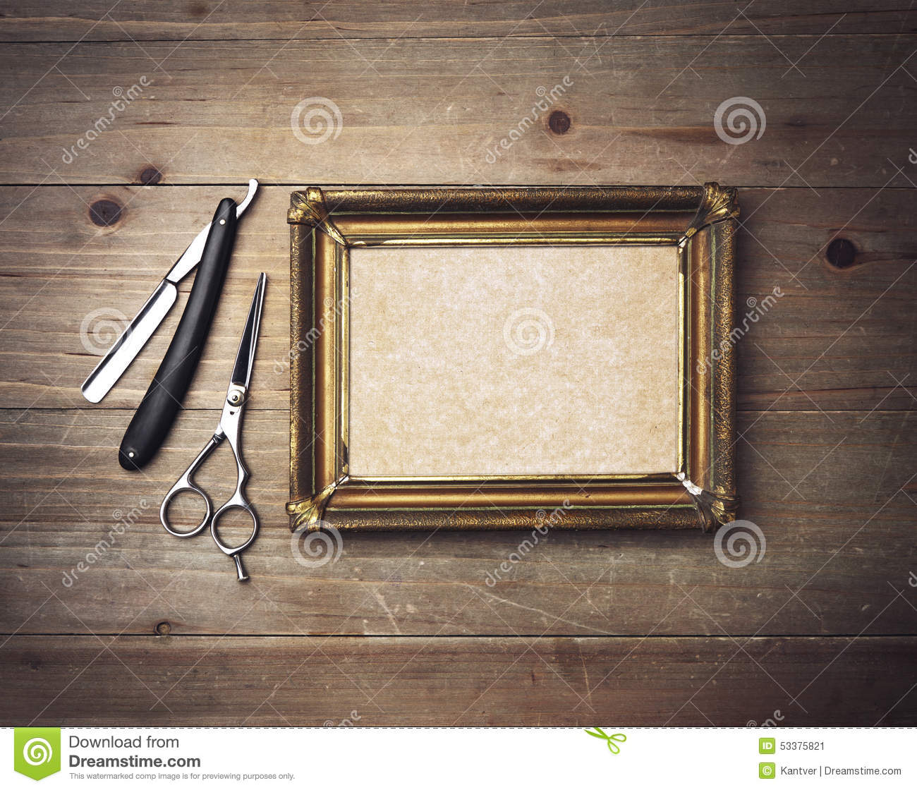 Vintage Barber Tools And White Poster With A Frame Stock