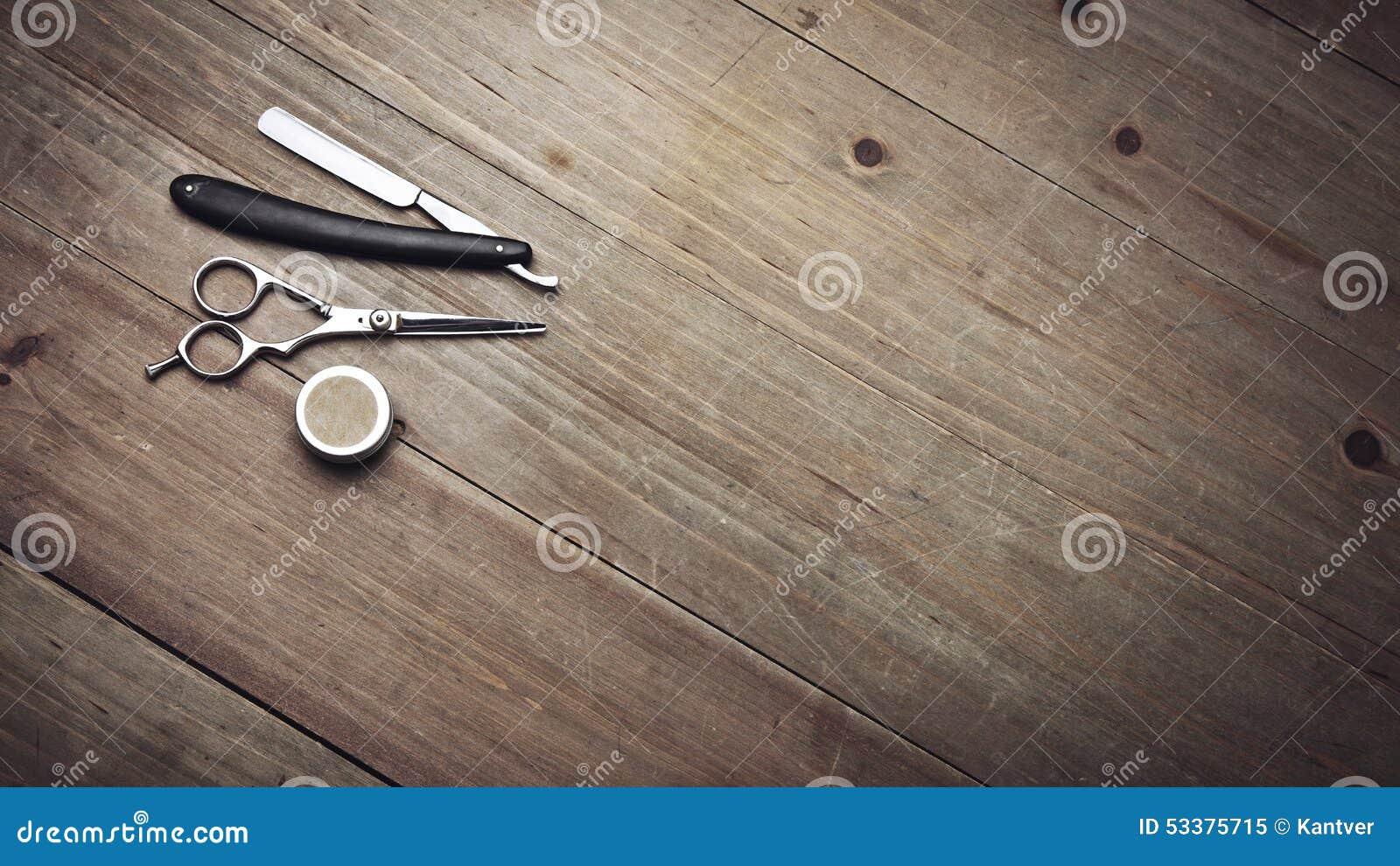 Vintage Barber Tools On Wood Table Stock Photo Image
