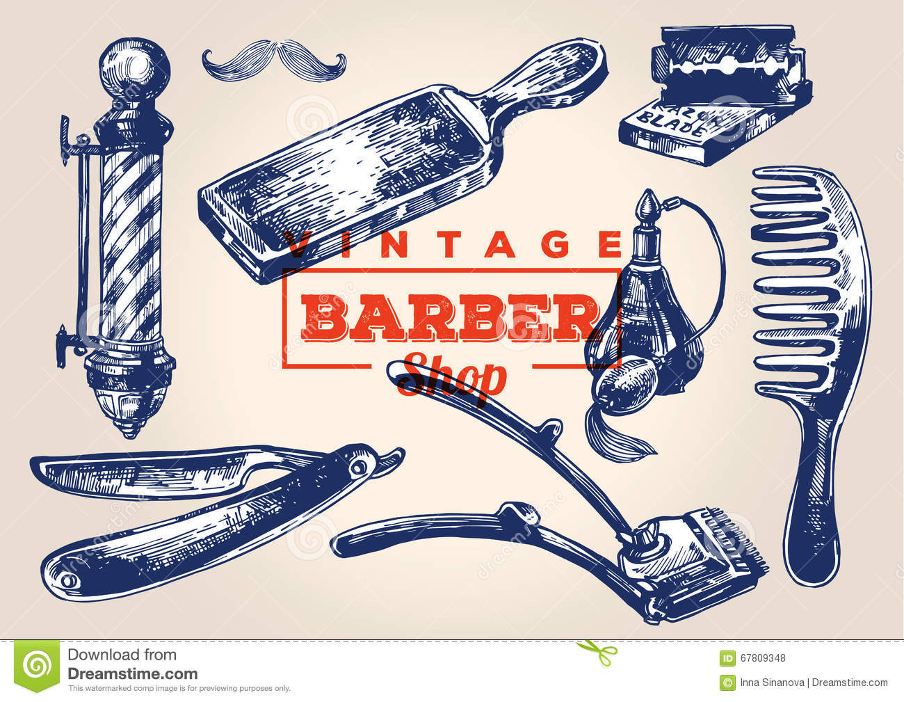 Vintage Barbershop Elements. Set 1 Stock Vector ...