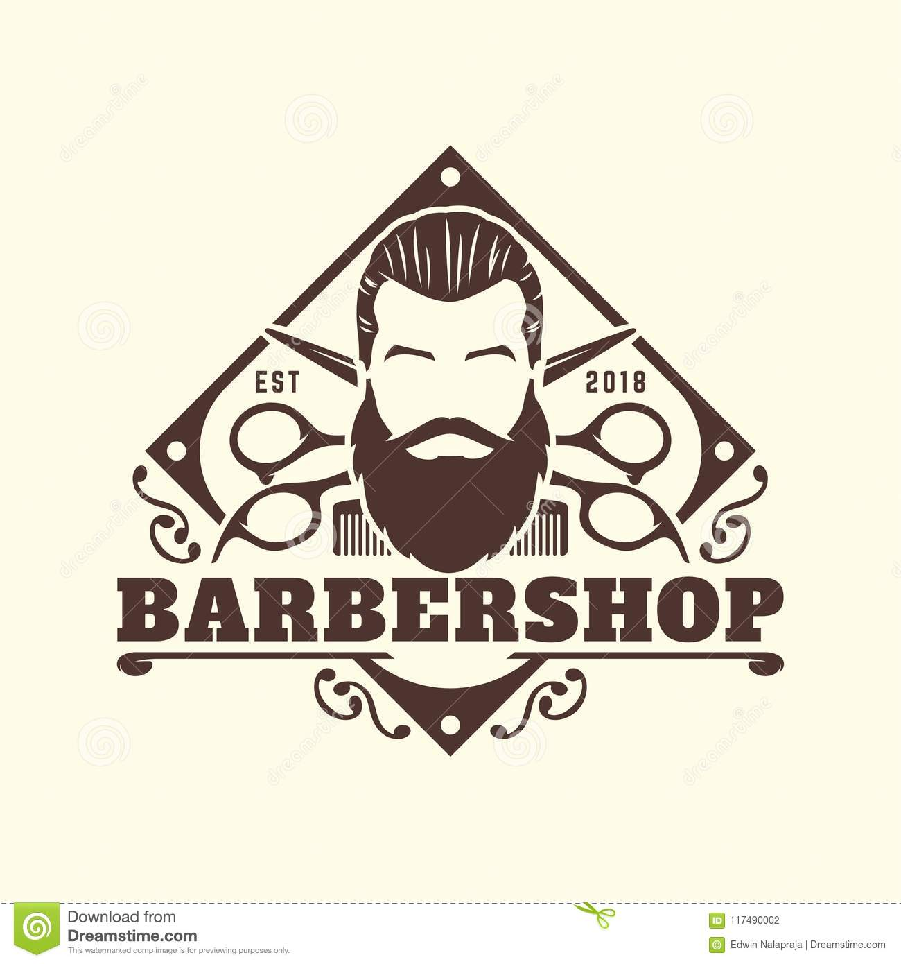 Barbershop Logo Template Vintage Or Retro Style With