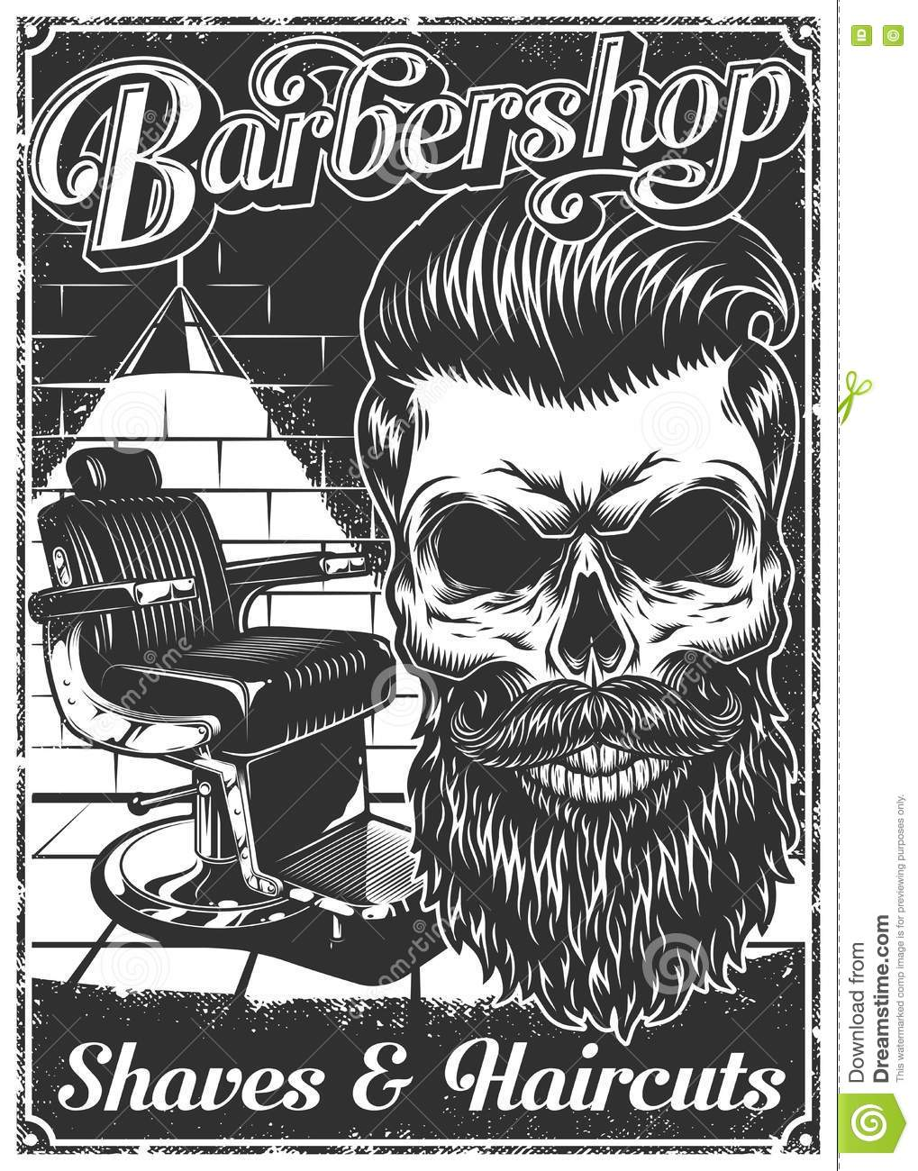 Vintage barber shop chairs - Vintage Barbershop Poster With Barber Chair And Skull