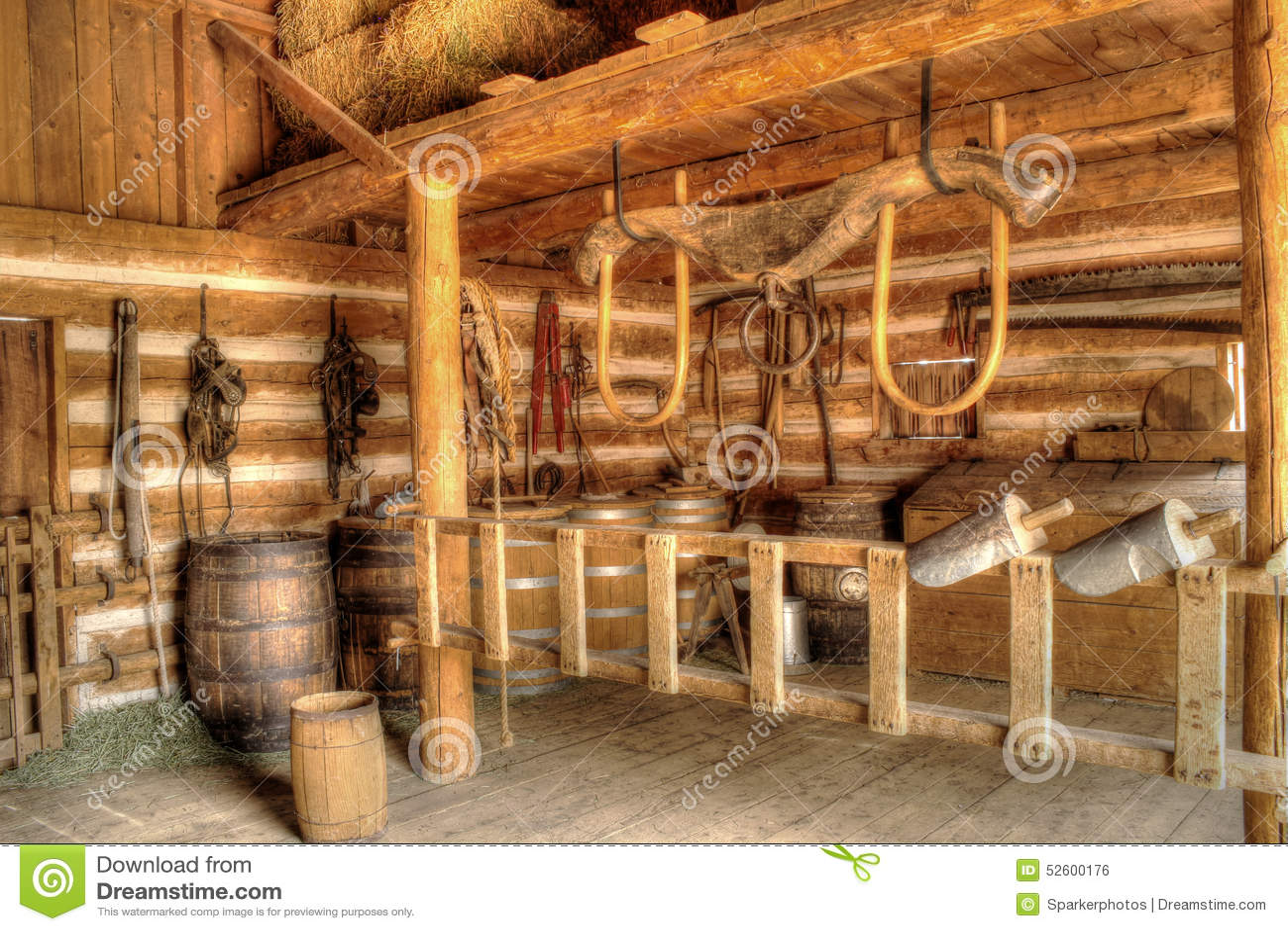 Barn Interior vintage barn interior stock photo - image: 52600176