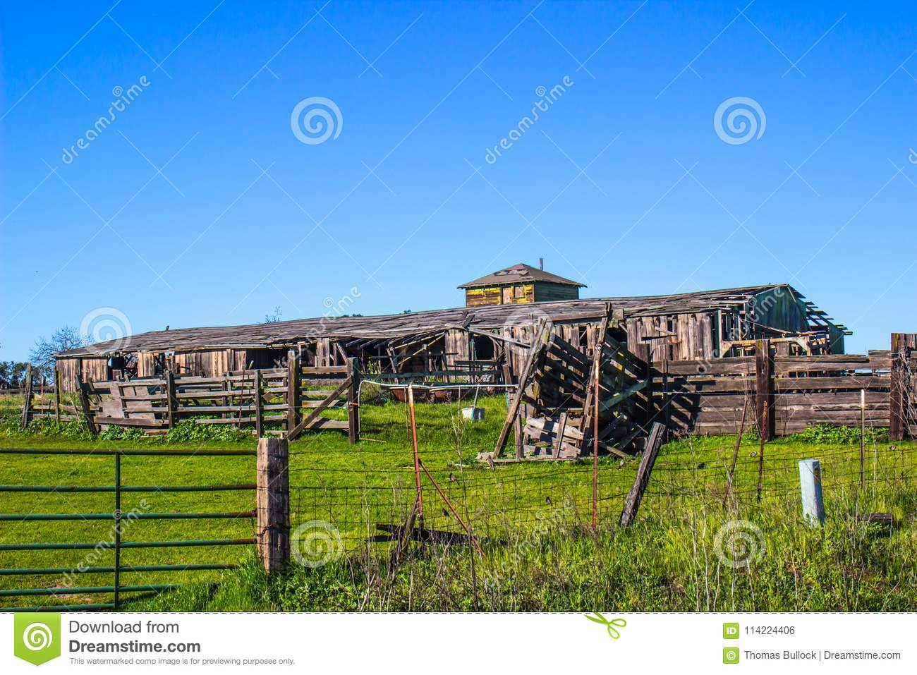 Vintage Barn & Wooden Fencing With Cattle Ramp In Disrepair