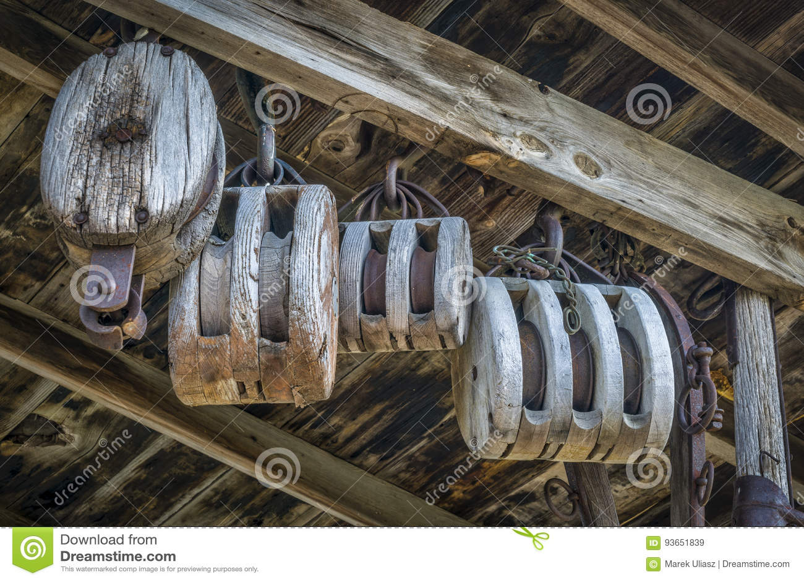 Vintage barn wooden pulleys