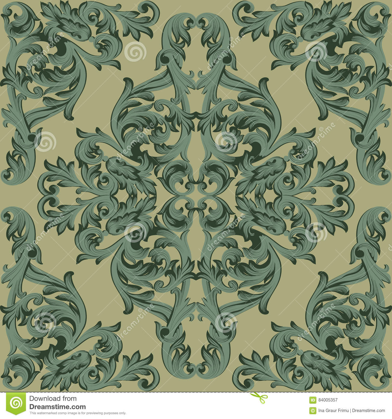 Vintage Baroque Damask Floral Pattern Acanthus Imperial Style