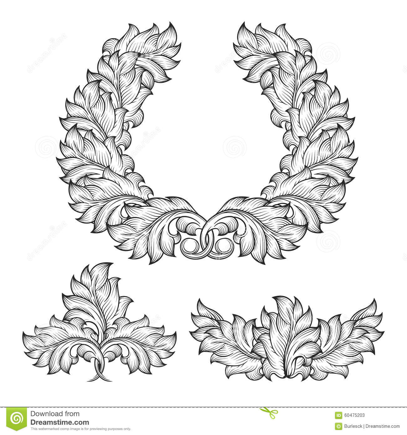 Vintage baroque floral scroll set ornament vector cartoon for Baroque design elements