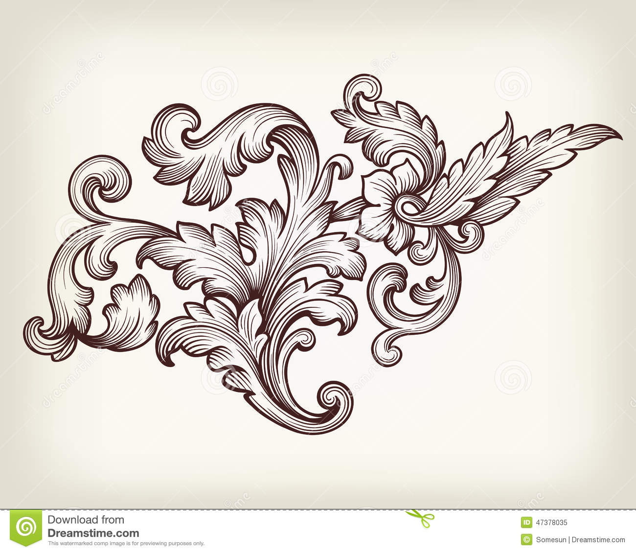 Vintage baroque floral scroll ornament vector stock vector for Baroque design elements