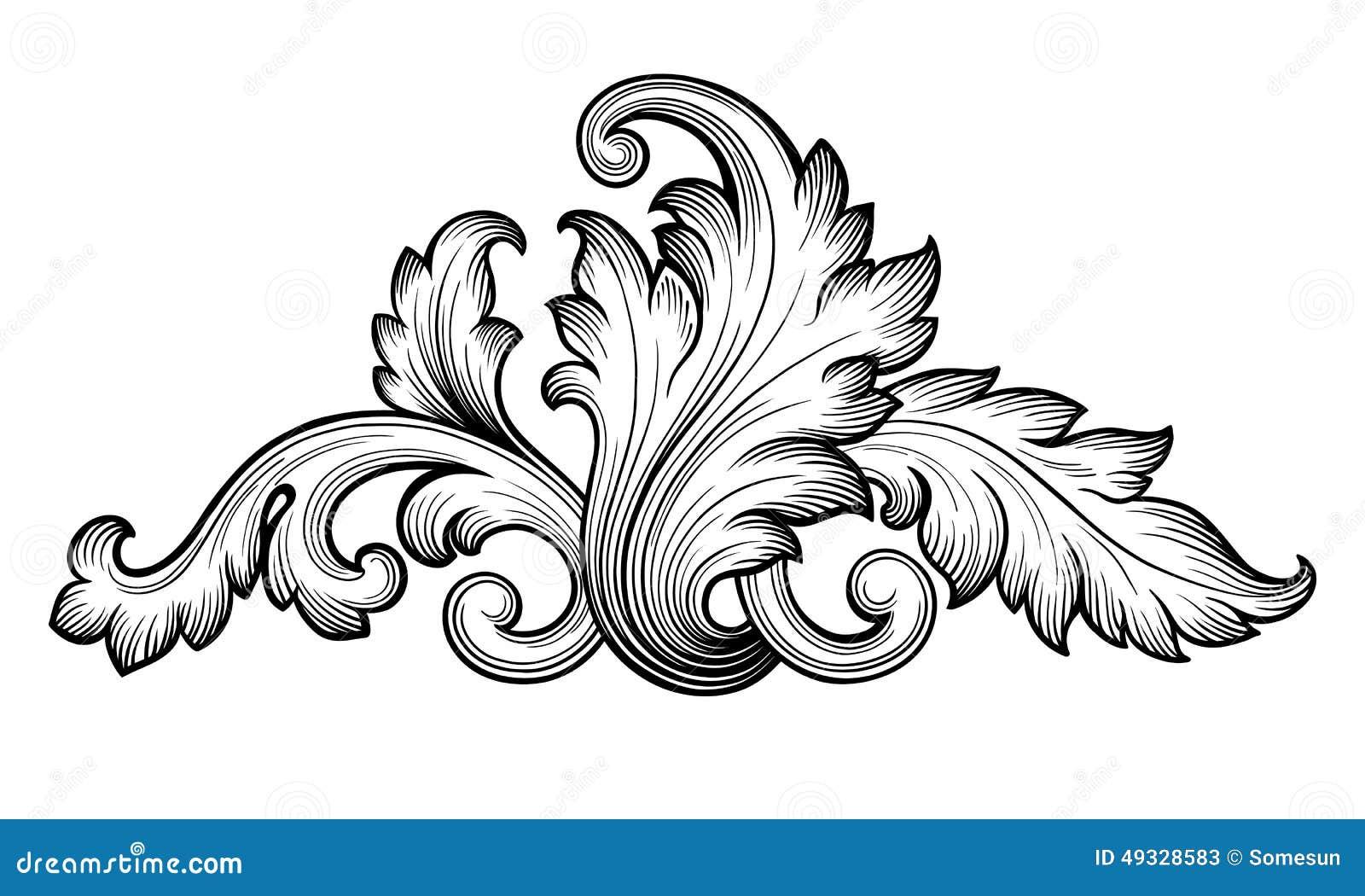vintage baroque floral scroll ornament vector stock vector illustration of branch leaf 49328583 dreamstime com