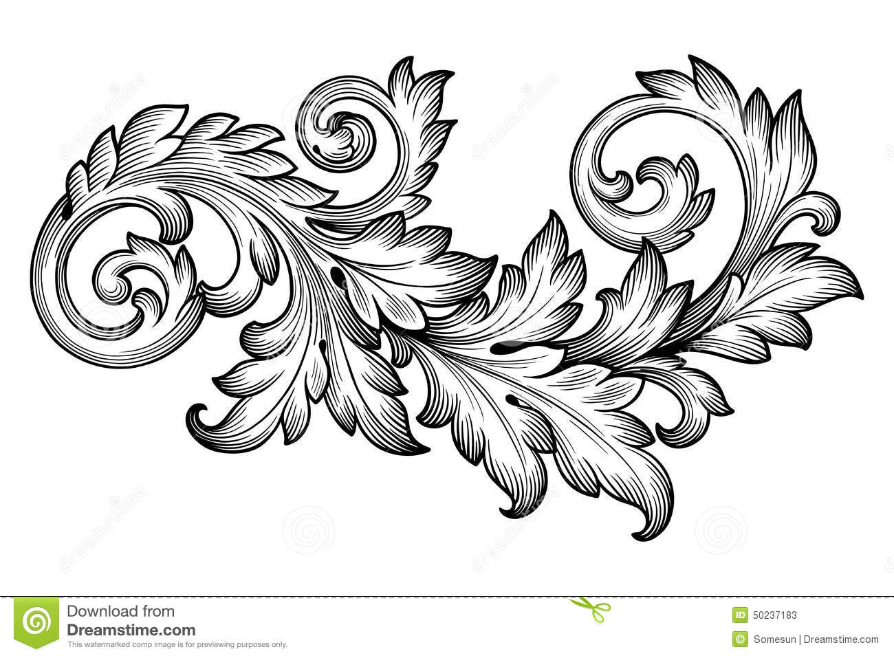 Download Vintage Baroque Foliage Floral Scroll Ornament Vector Stock Vector - Illustration of branch, acanthus: 50237183