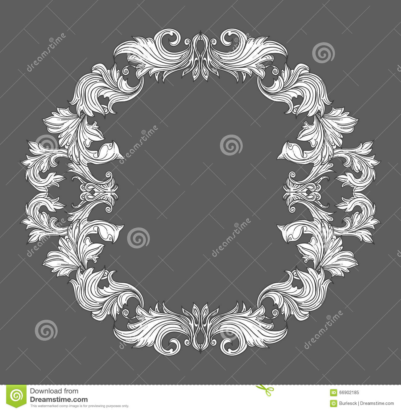 Antique Scroll Line: Ornament In Baroque Style. Cartoon Vector
