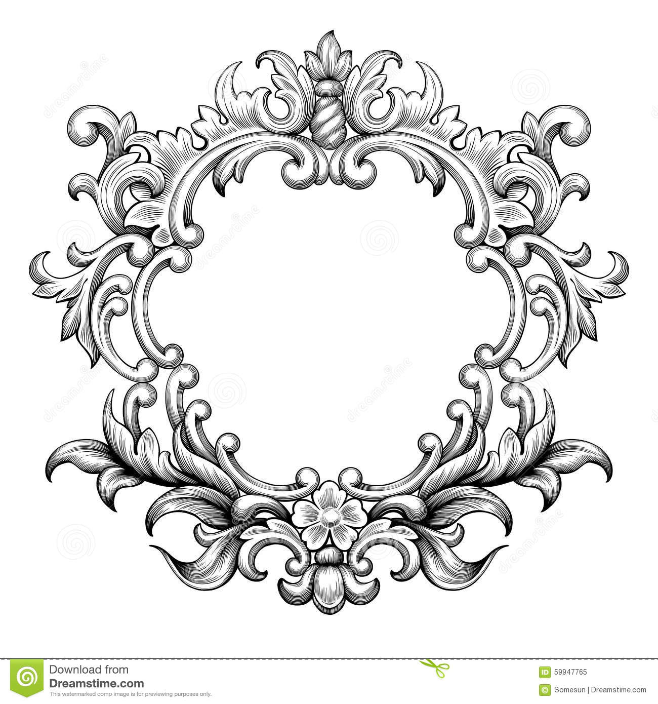 Vintage Baroque Frame Engraving Scroll Ornament Vector