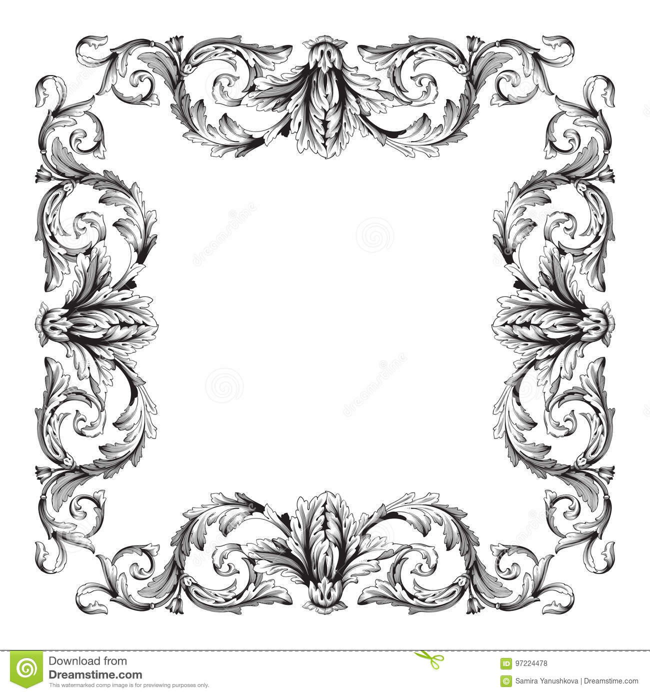 Antique Scroll Design: Vintage Baroque Frame Scroll Ornament Stock Vector