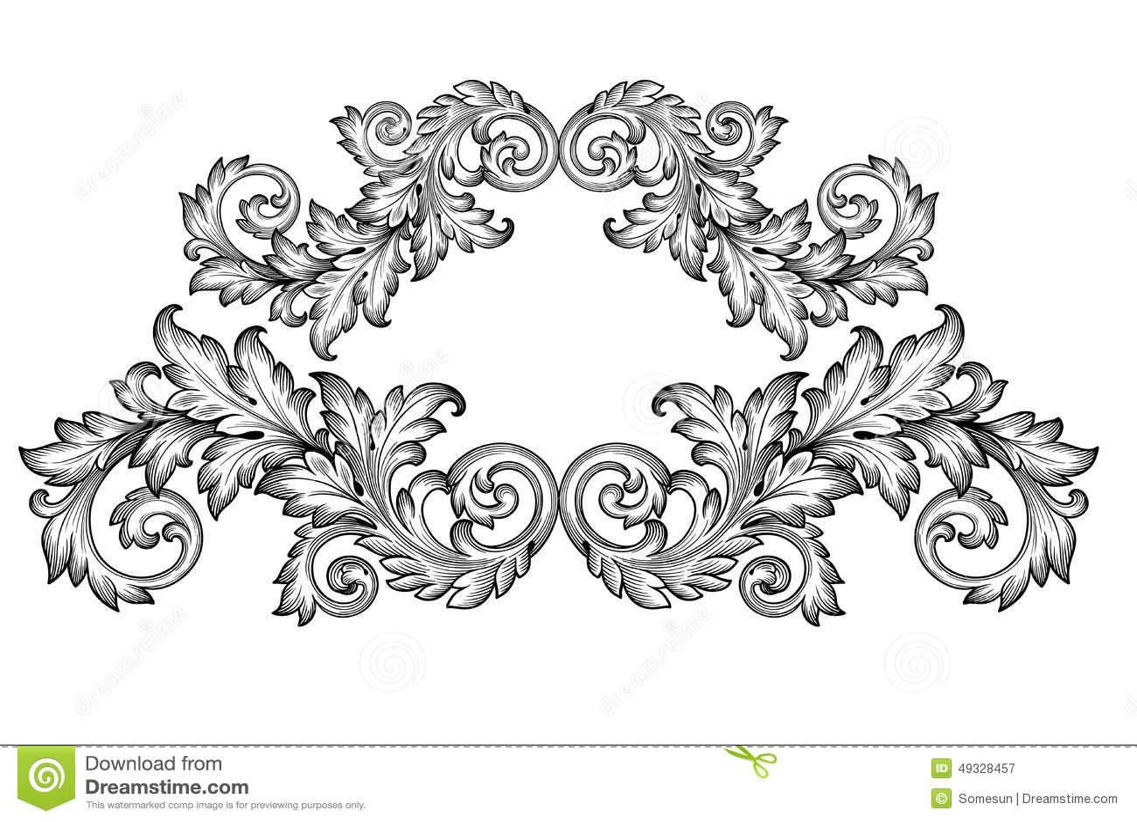 Vintage baroque frame scroll ornament engraving border floral retro ...