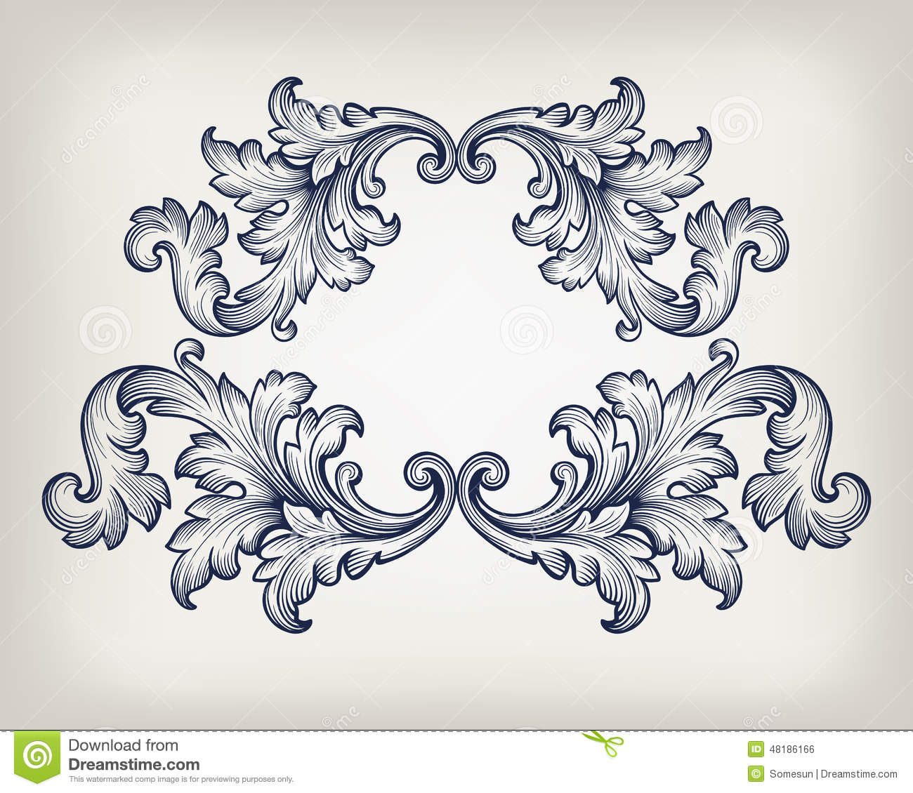 Vintage baroque frame scroll ornament vector stock vector for Baroque architecture elements