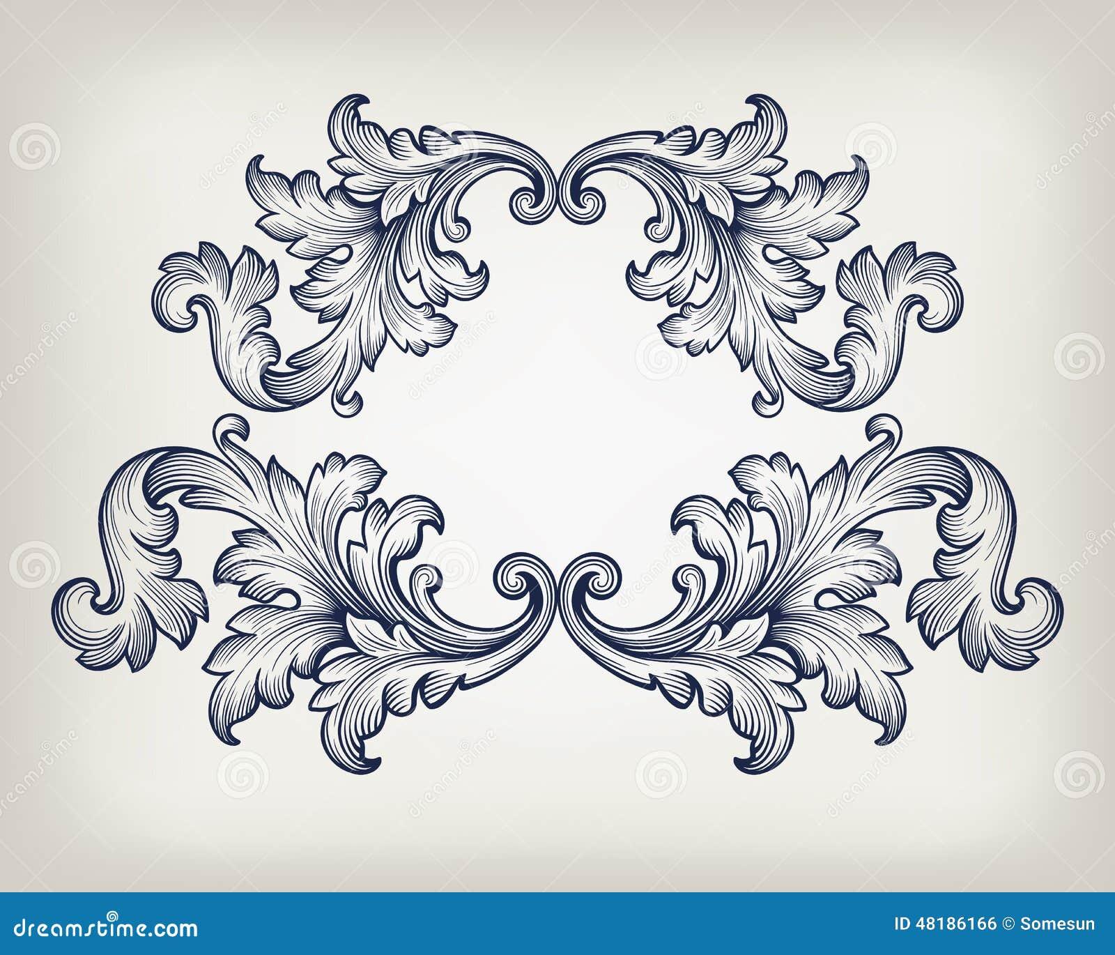 Vintage Baroque Frame Scroll Ornament Vector Stock Vector