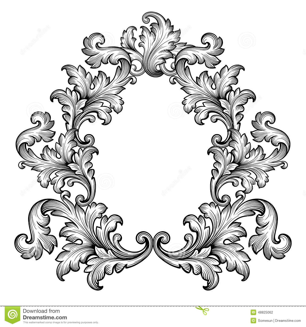 I Designed A Vintage Looking Border Art For You To Use In: Vintage Baroque Frame Scroll Ornament Vector Stock Vector