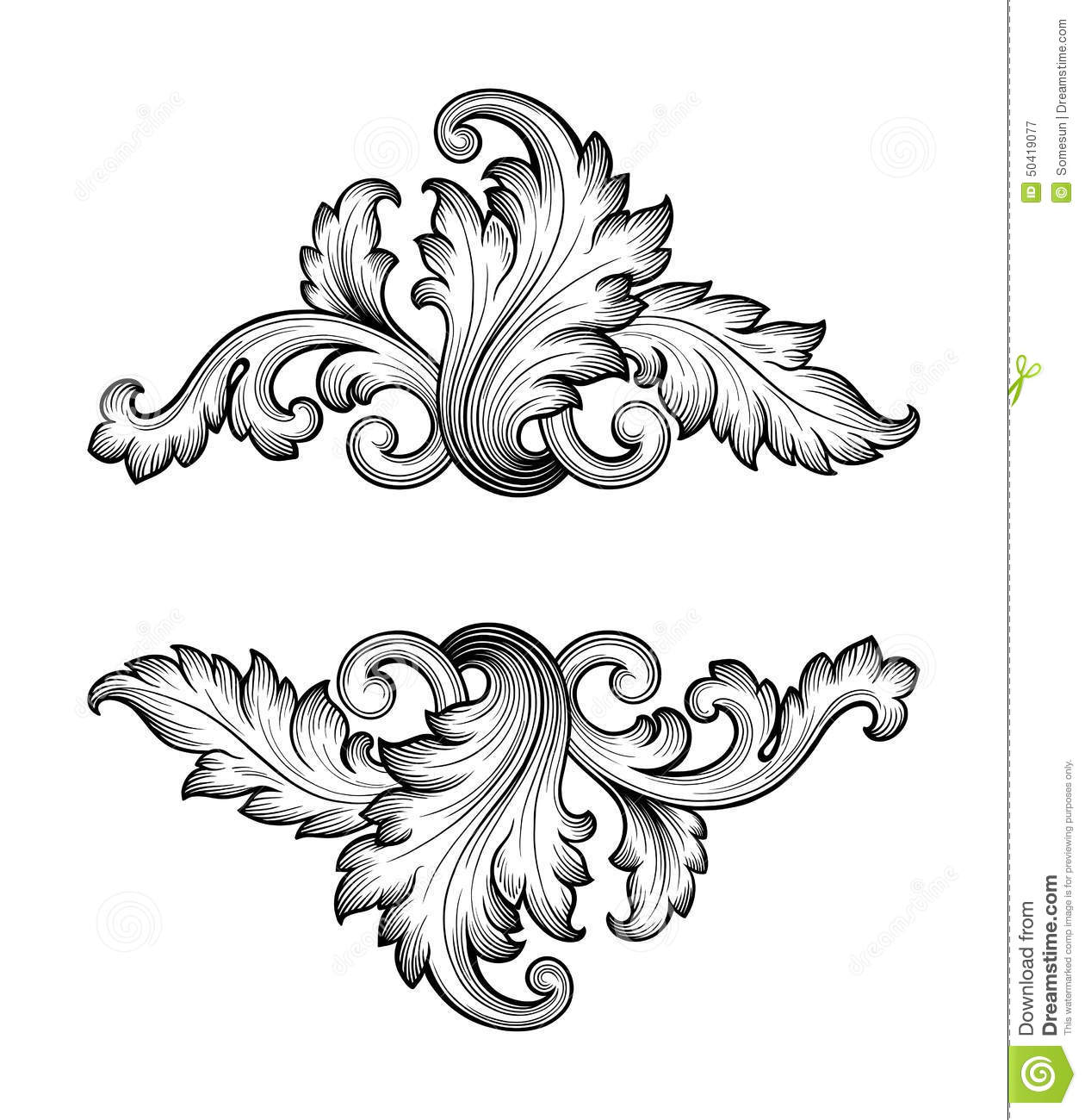 Antique Scroll Design: Vintage Baroque Frame Scroll Ornament Vector Stock Vector