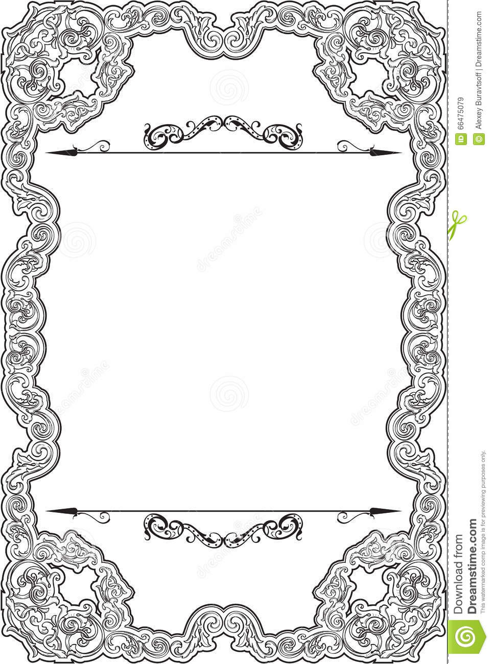 Vintage baroque nice frame stock vector. Illustration of figuration ...