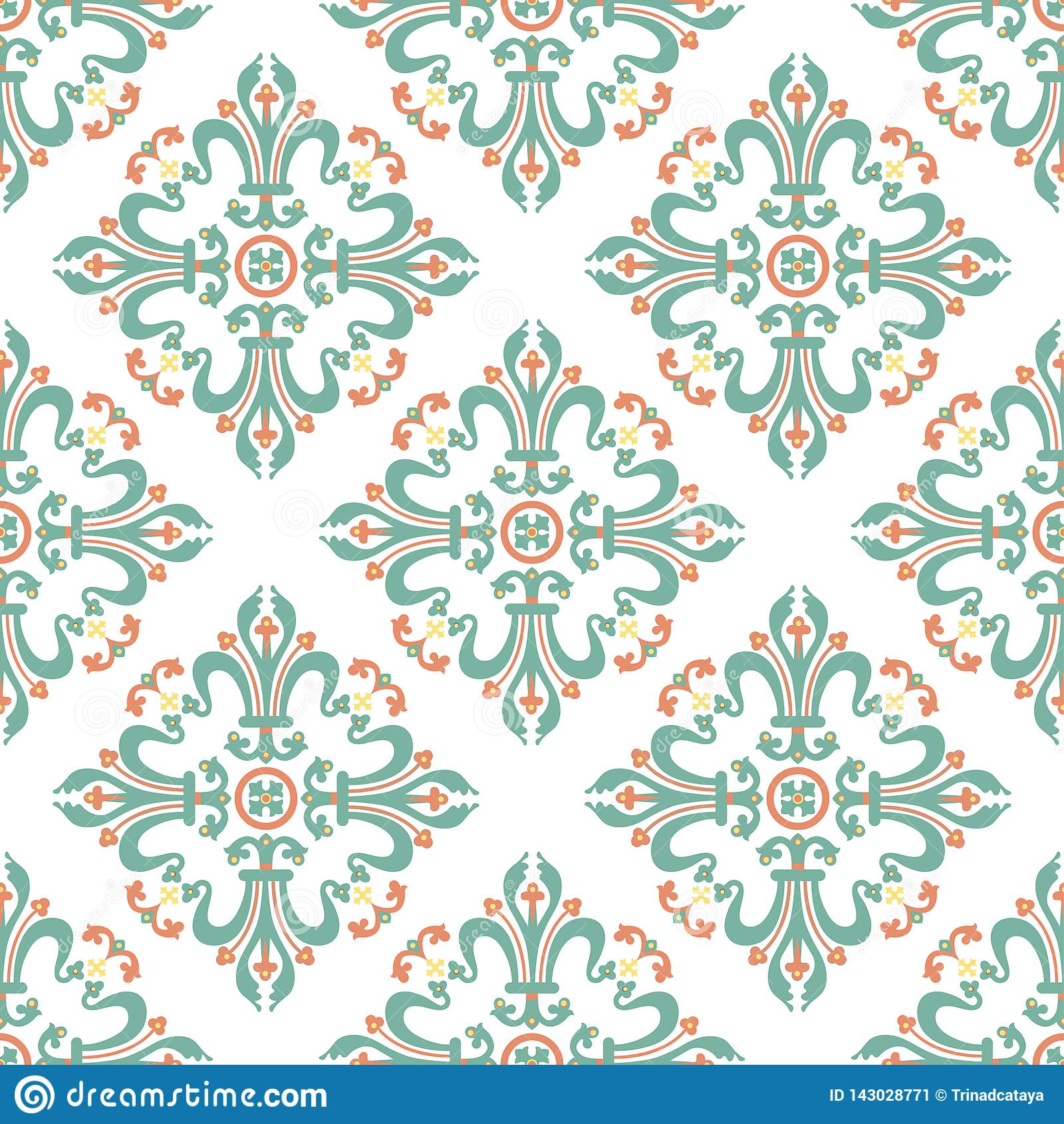 Vintage Baroque Ornament, Damask Floral Seamless Pattern