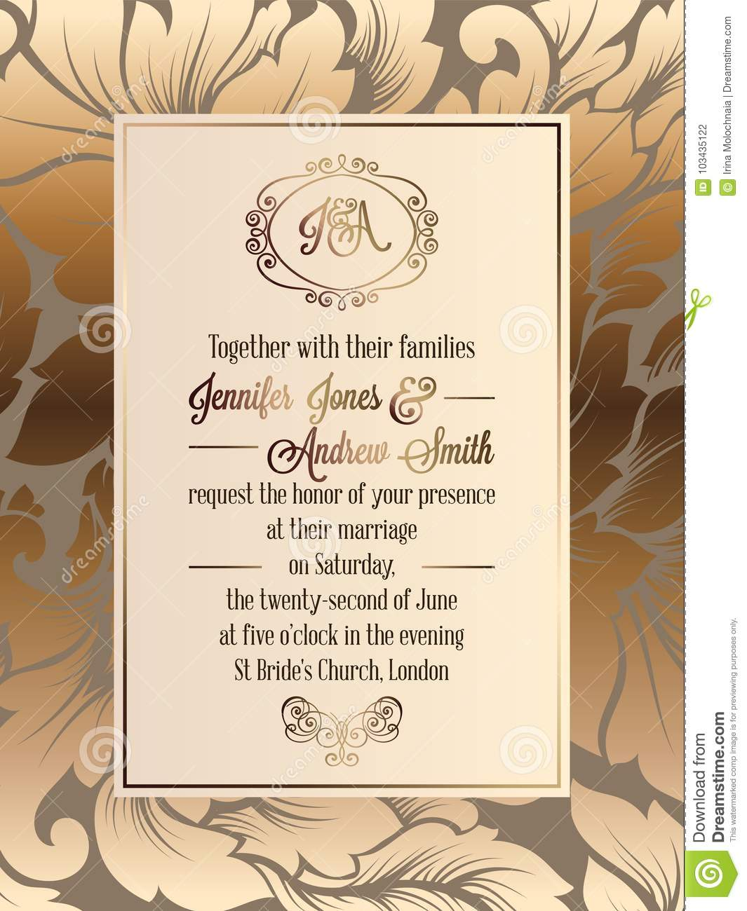 Vintage Baroque Style Wedding Invitation Card Template. Stock