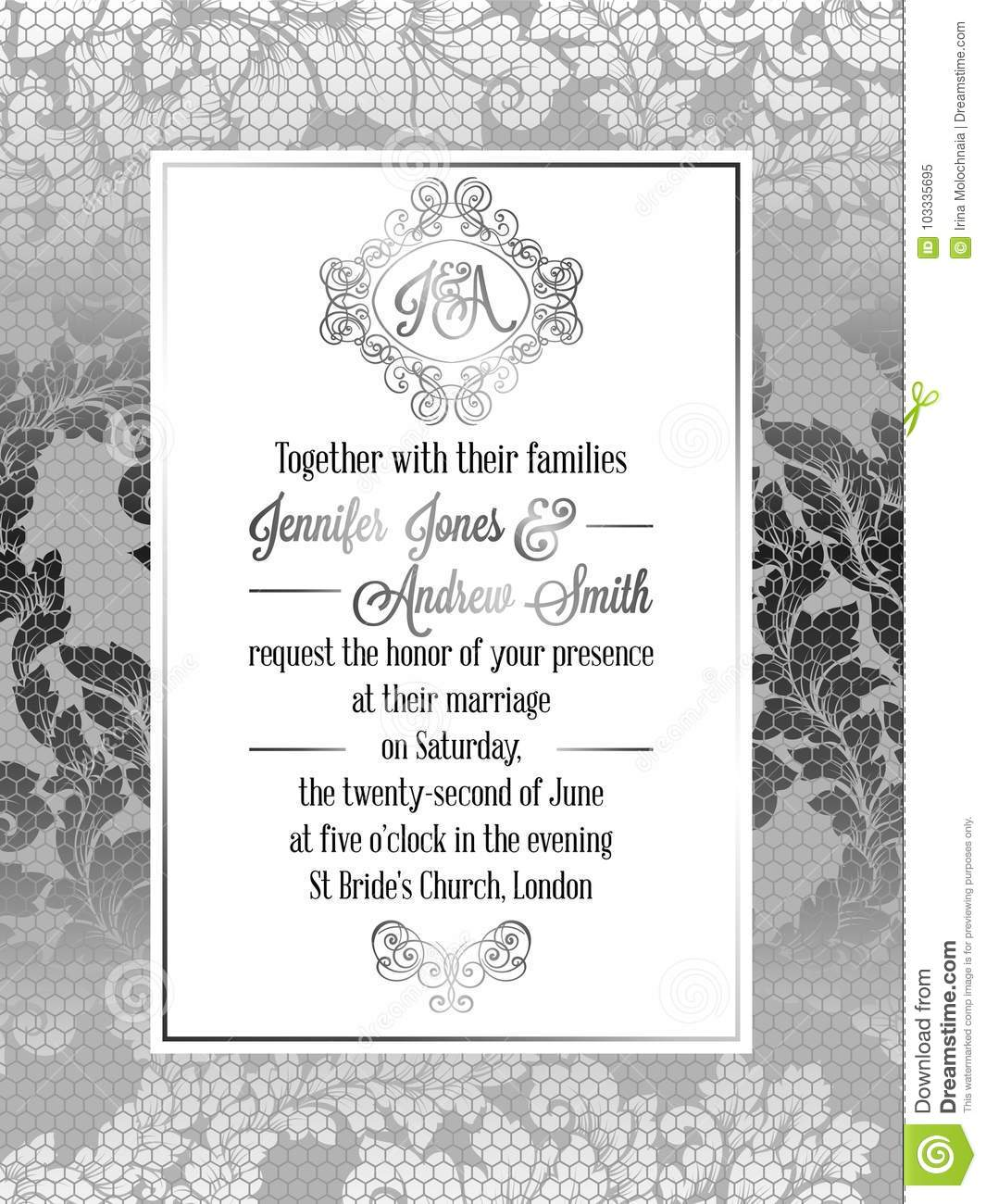 Vintage Baroque Style Wedding Invitation Card Template
