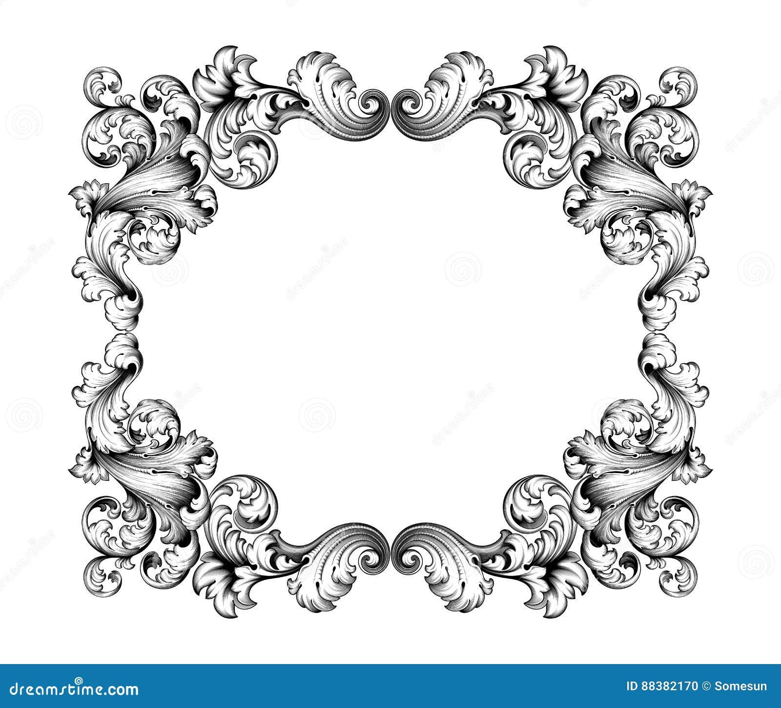 vintage baroque victorian frame border monogram floral ornament scroll engraved retro pattern tattoo calligraphic - Engraved Frame
